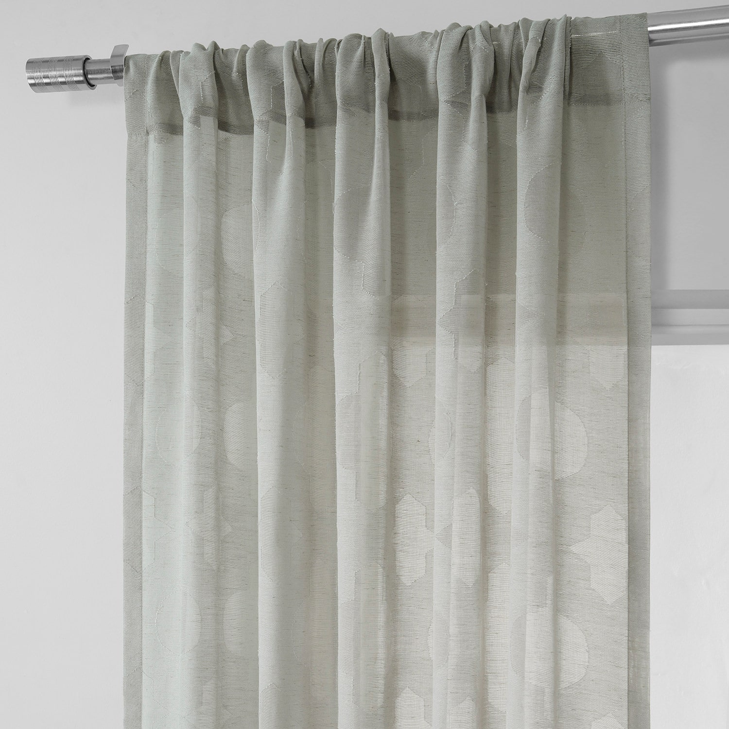 Calais Tile Grey Patterned Linen Sheer Curtain