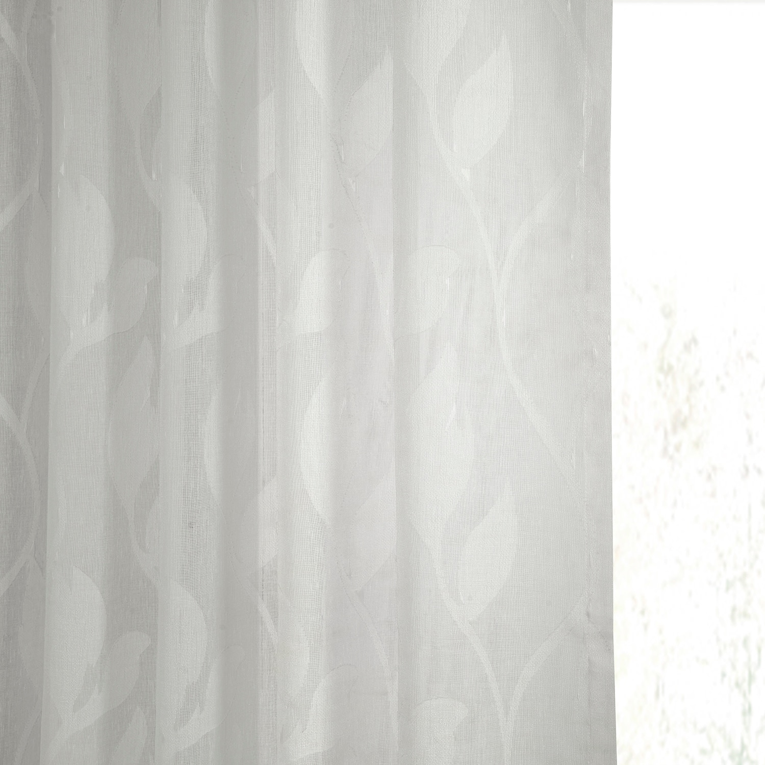 Avignon Vine Patterned Faux Linen Sheer Curtain