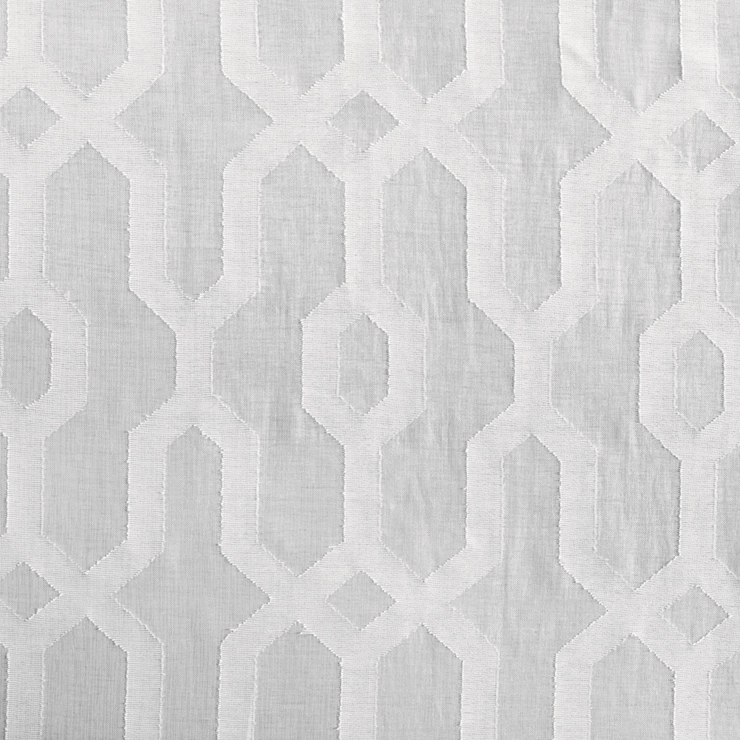 Limoges Geo White Patterned Faux Linen Sheer Swatch