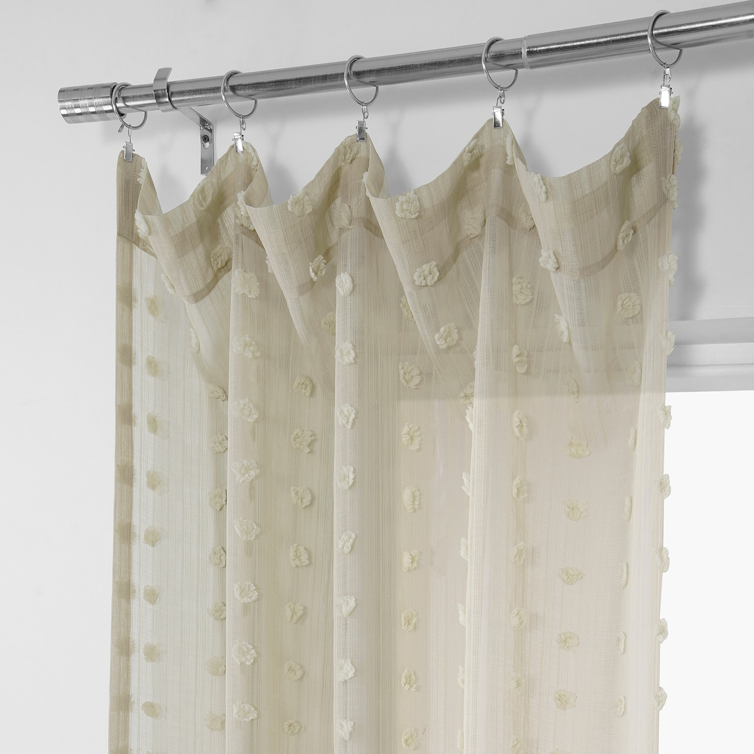 Strasbourg Dot Beige Patterned Linen Sheer Curtain