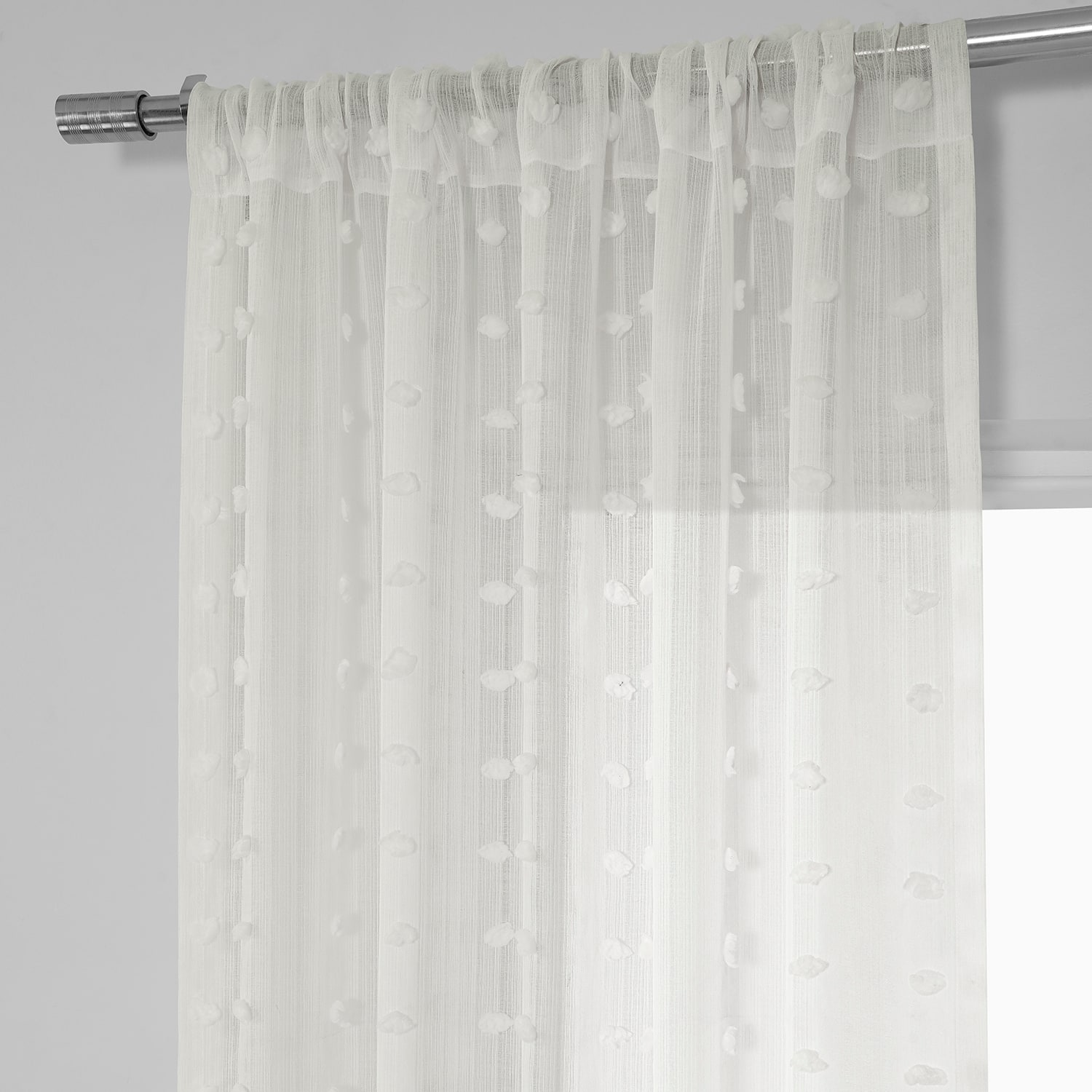 Strasbourg Dot Patterned Faux Linen Sheer Curtain
