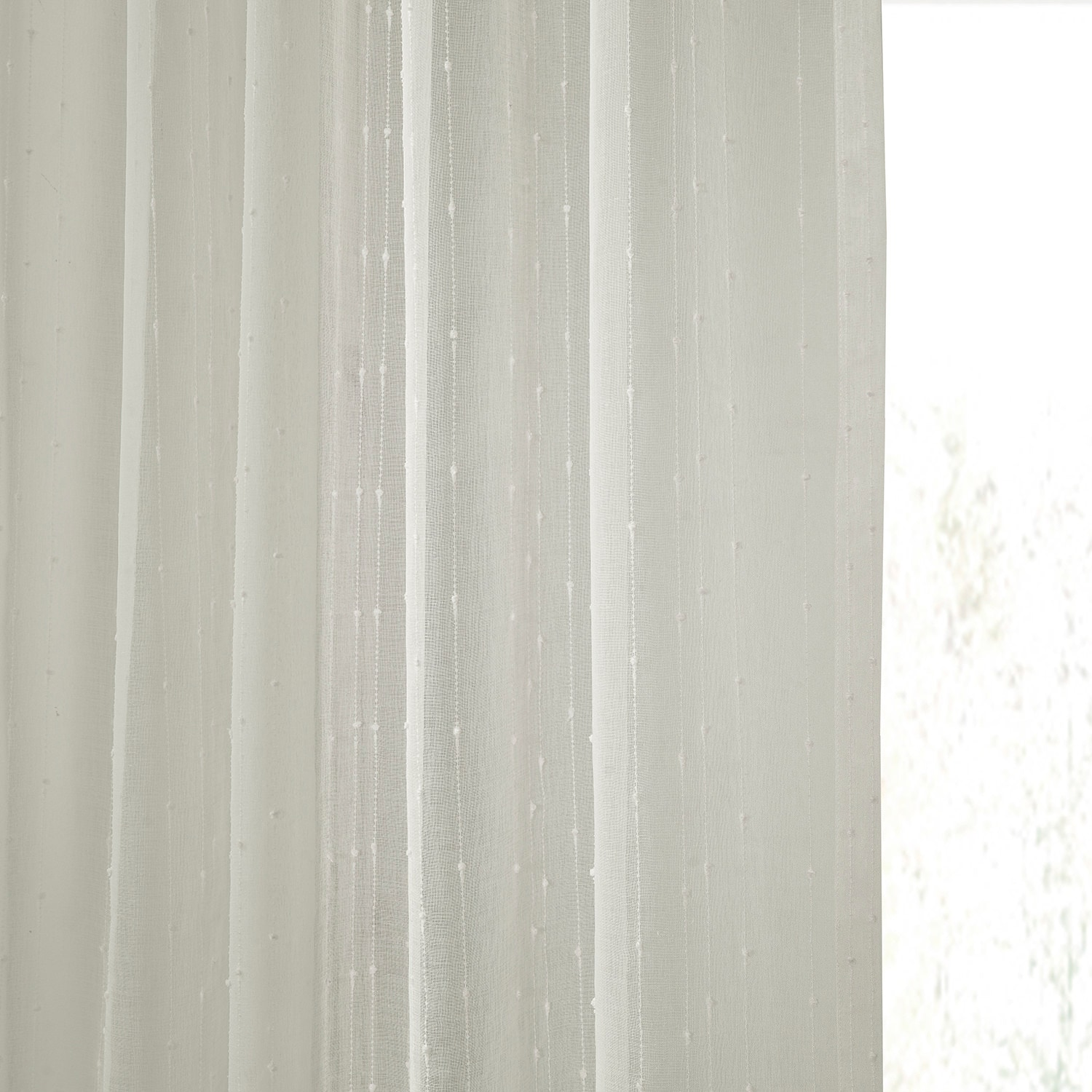 Montpellier Striped Faux Linen Sheer Curtain