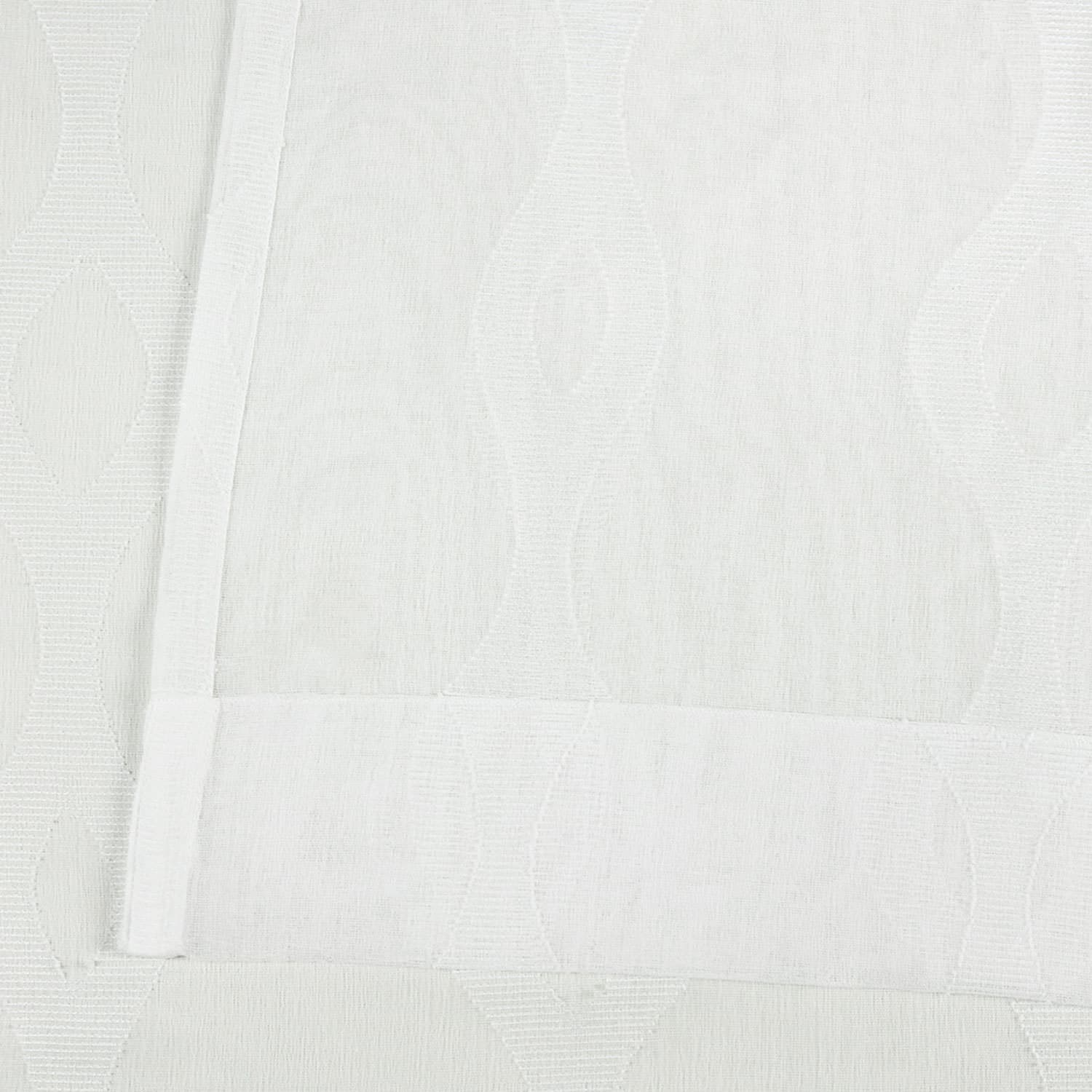 Vega White Patterned Linen Sheer Curtain