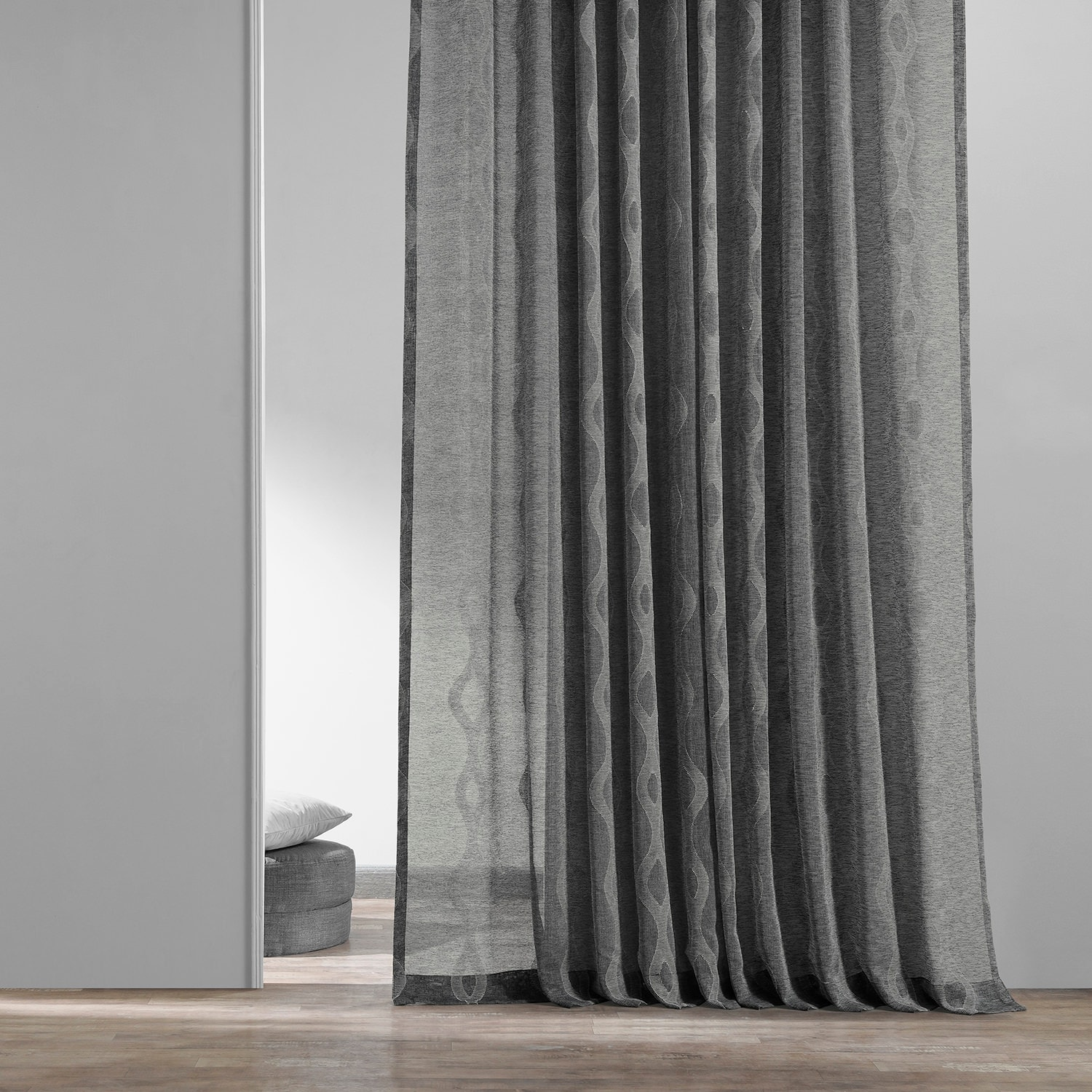 Vega Charcoal Patterned Linen Sheer Curtain