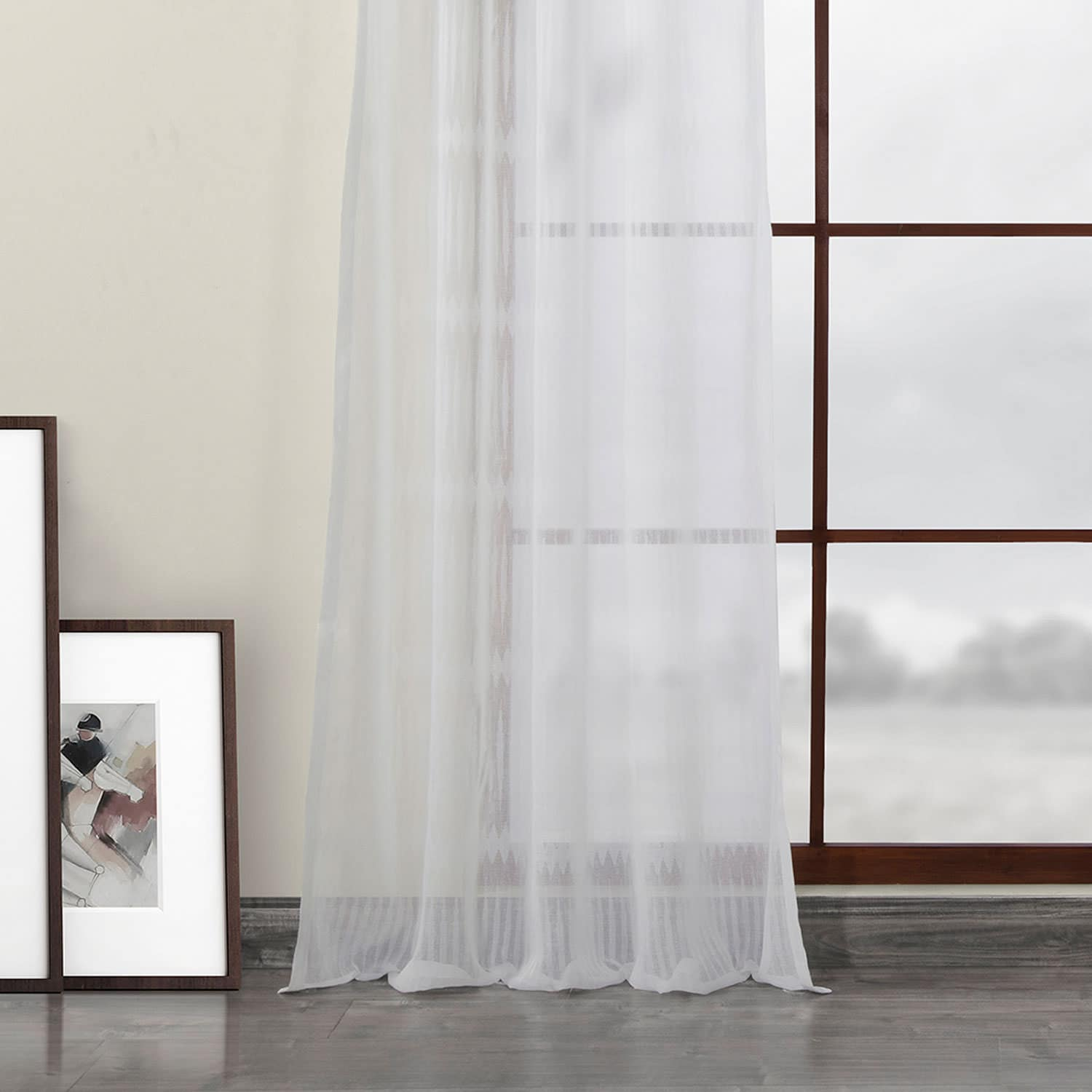 Polaris Off White Patterned Linen Sheer Curtain