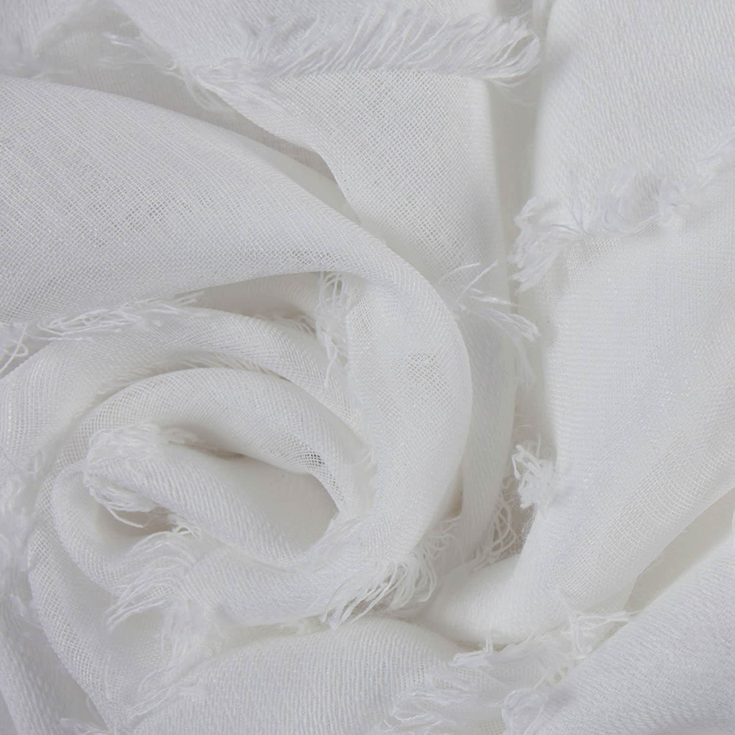 Capella White Patterned Linen Sheer Swatch