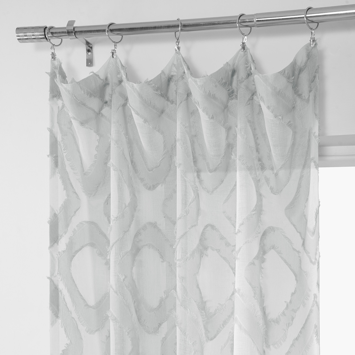 Capella Silver Patterned Linen Sheer Curtain