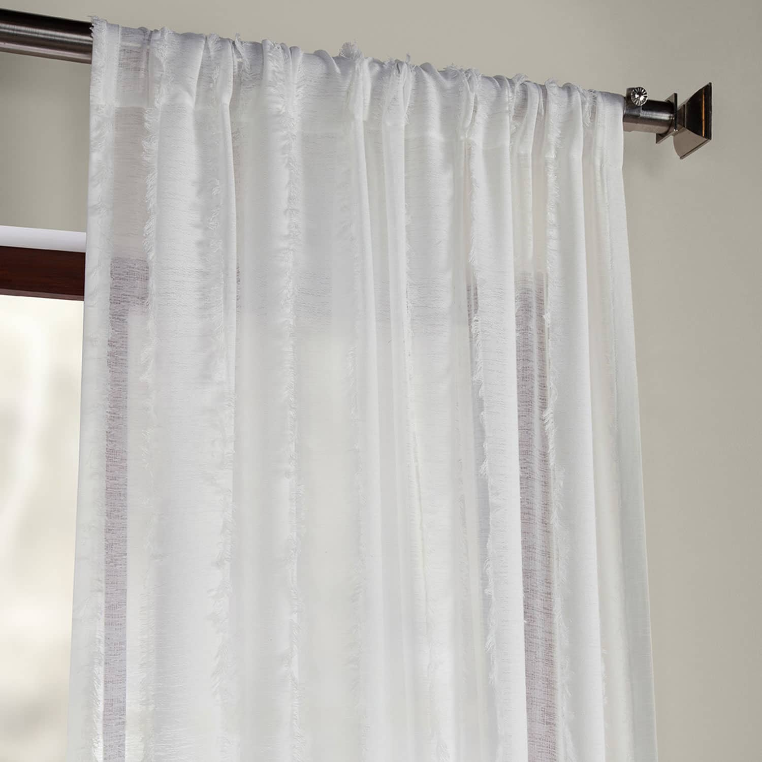 Antares White Patterned Linen Sheer Curtain
