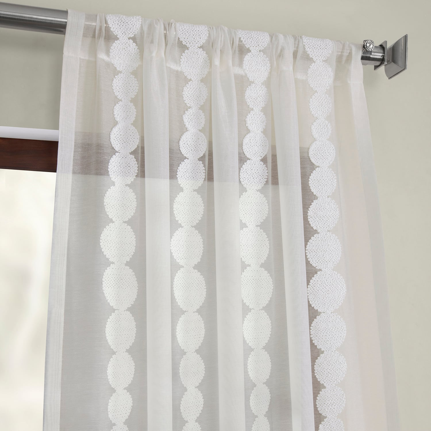 Cleopatra Cream Embroidered Sheer Curtain