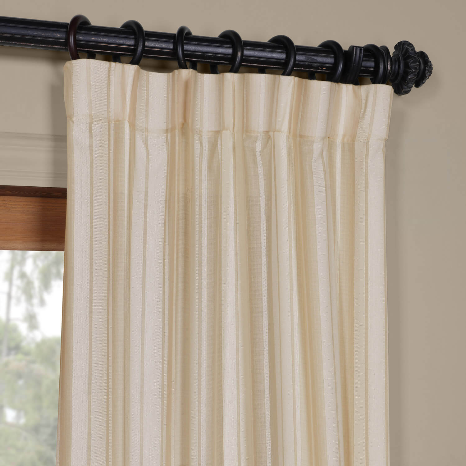 Linen Stripe Kitchen Curtains: Cayman Natural Striped Linen Sheer Curtain