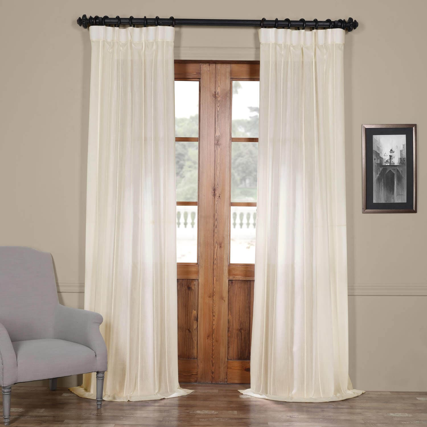 Half price drapes aruba white striped linen sheer curtain for Where can i buy curtains online