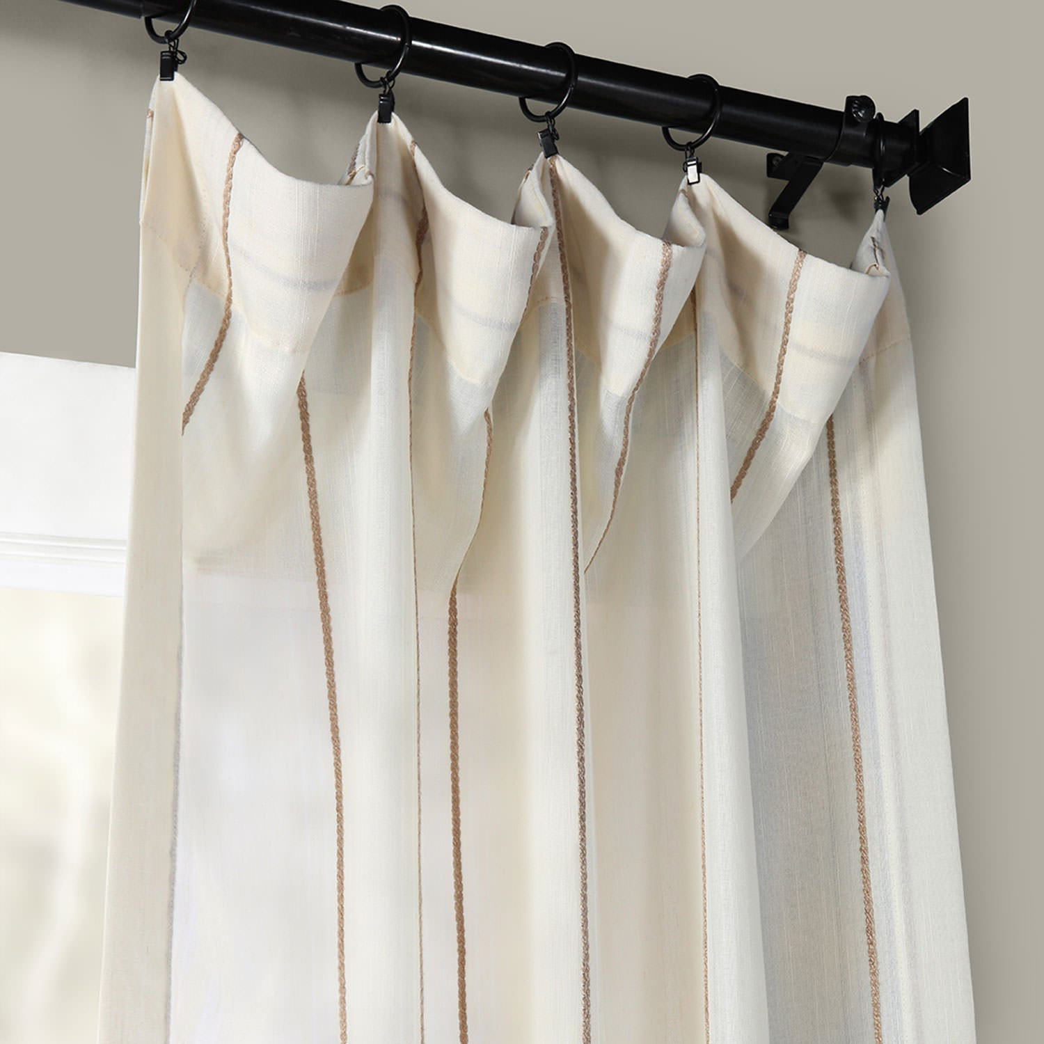 Aruba Gold Striped Linen Sheer Curtain