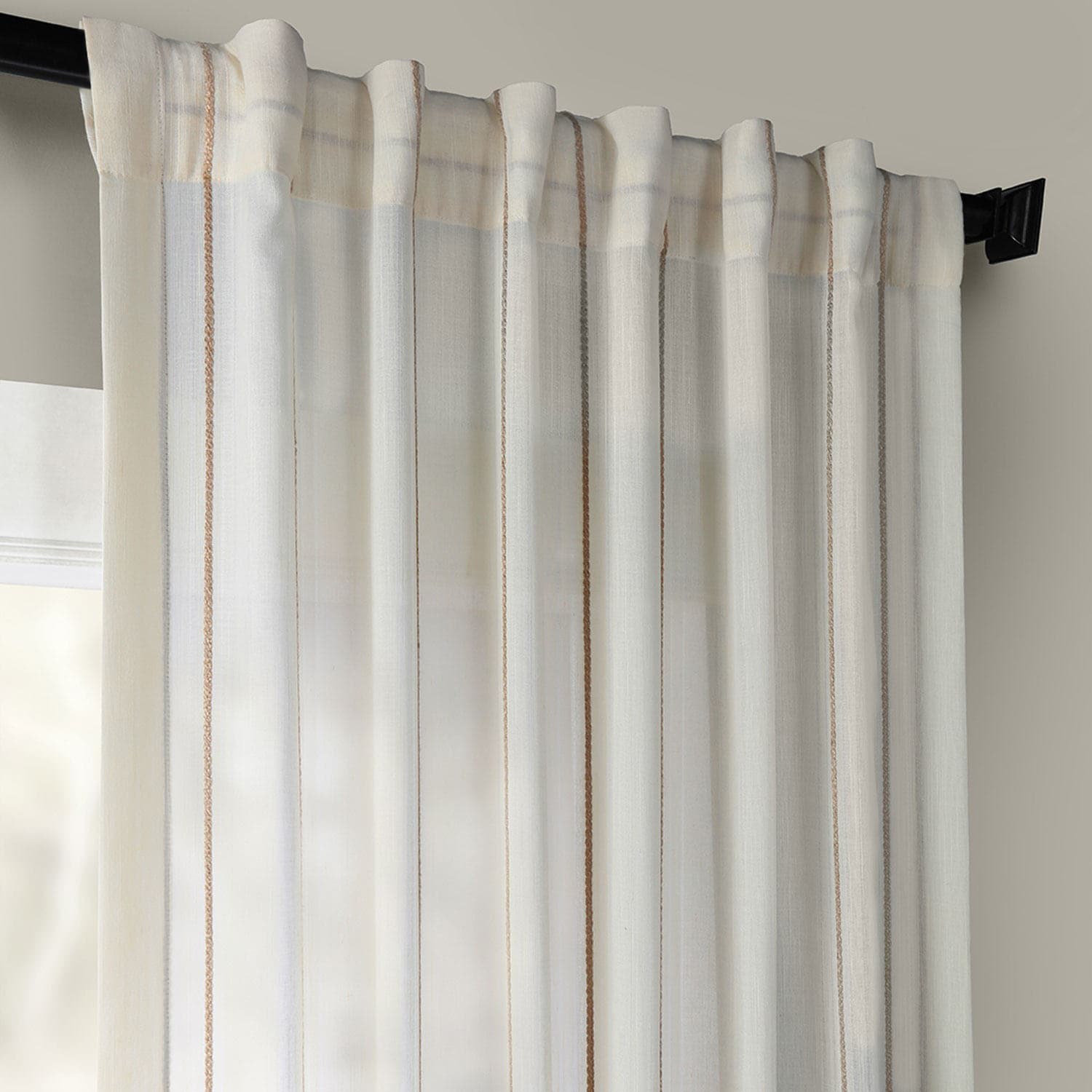 Linen Stripe Kitchen Curtains: Buy Aruba Gold Striped Linen Sheer Curtains