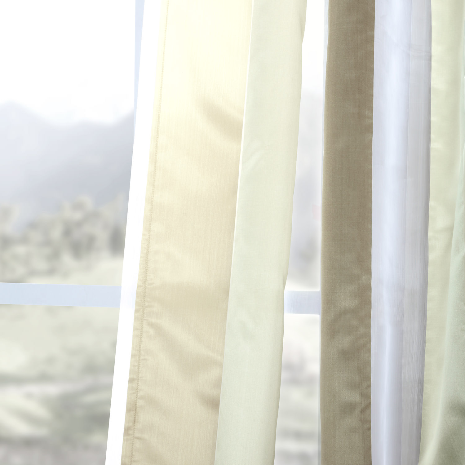 Burnished Gold Organza Vertical Stripe Sheer Curtain
