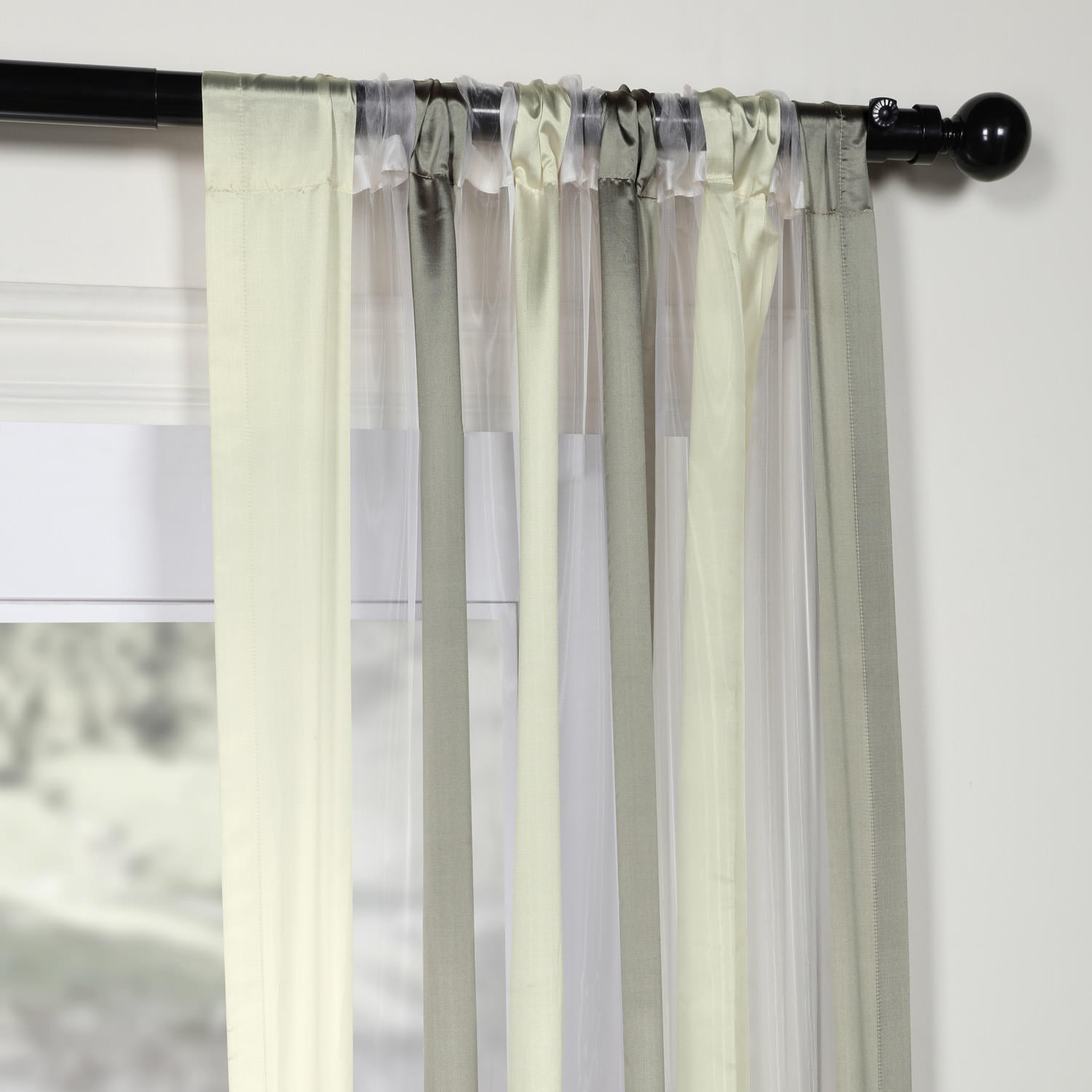 Laquered Silver Amp White Organza Stripe Sheer Curtain