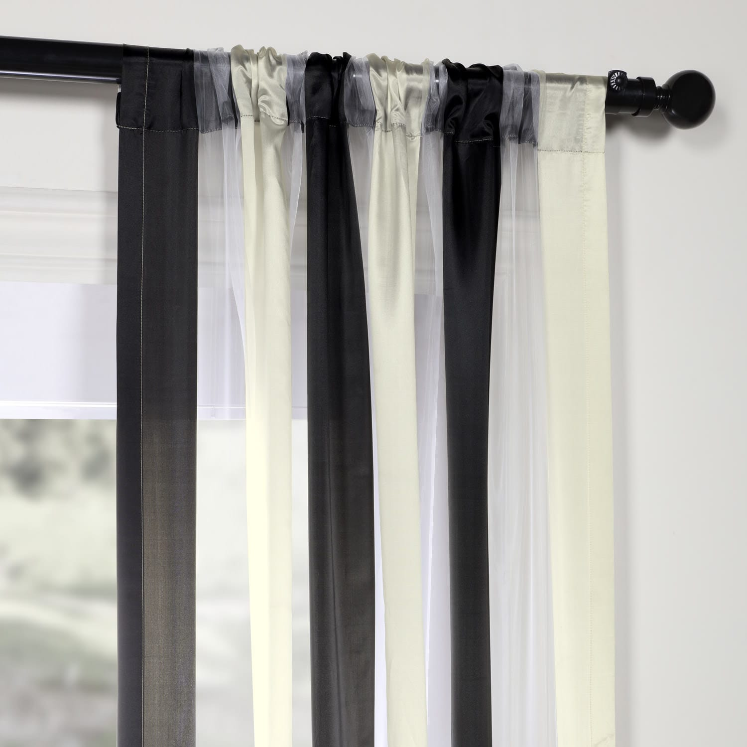 Buffed Black & White Organza Vertical Stripe Sheer Curtain