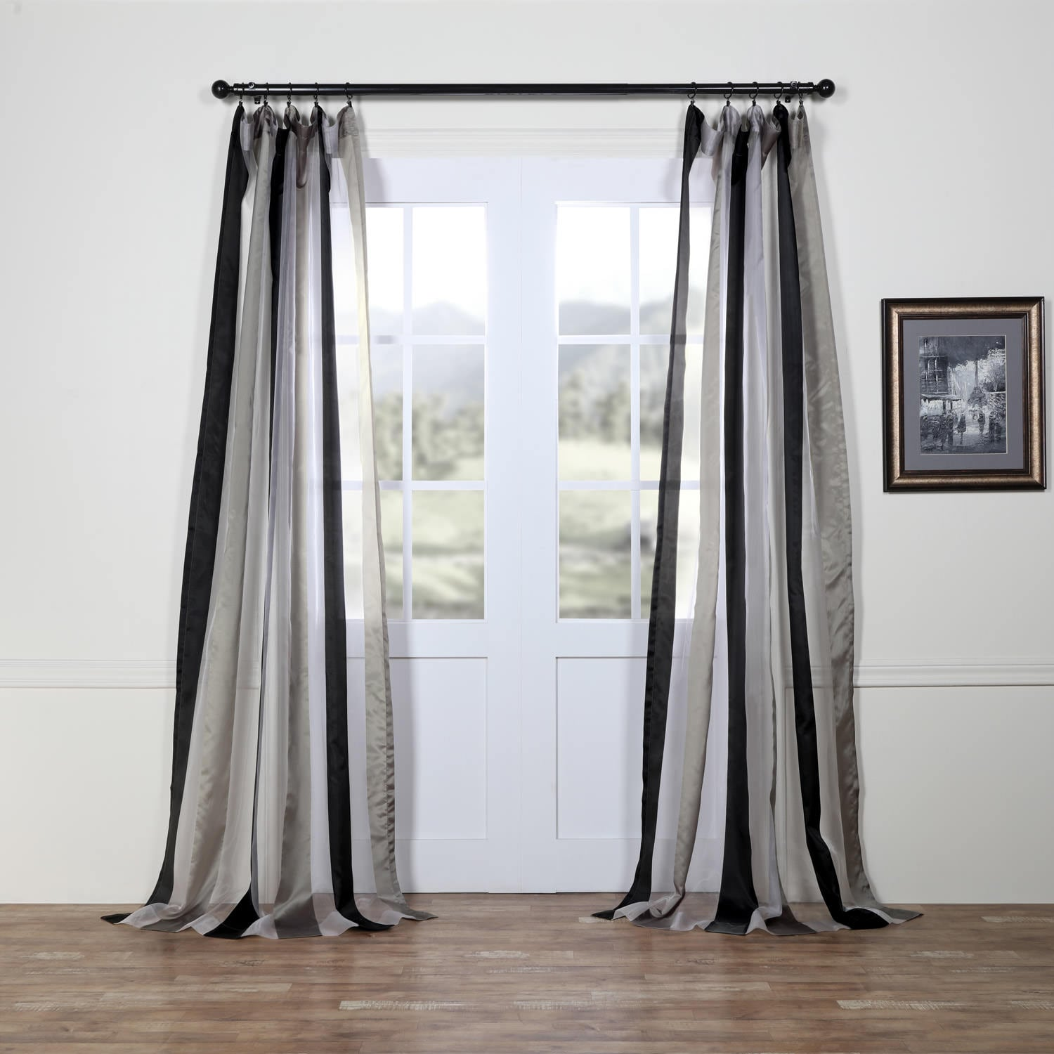 Polished Silver & Black Organza Vertical Stripe Sheer Curtain