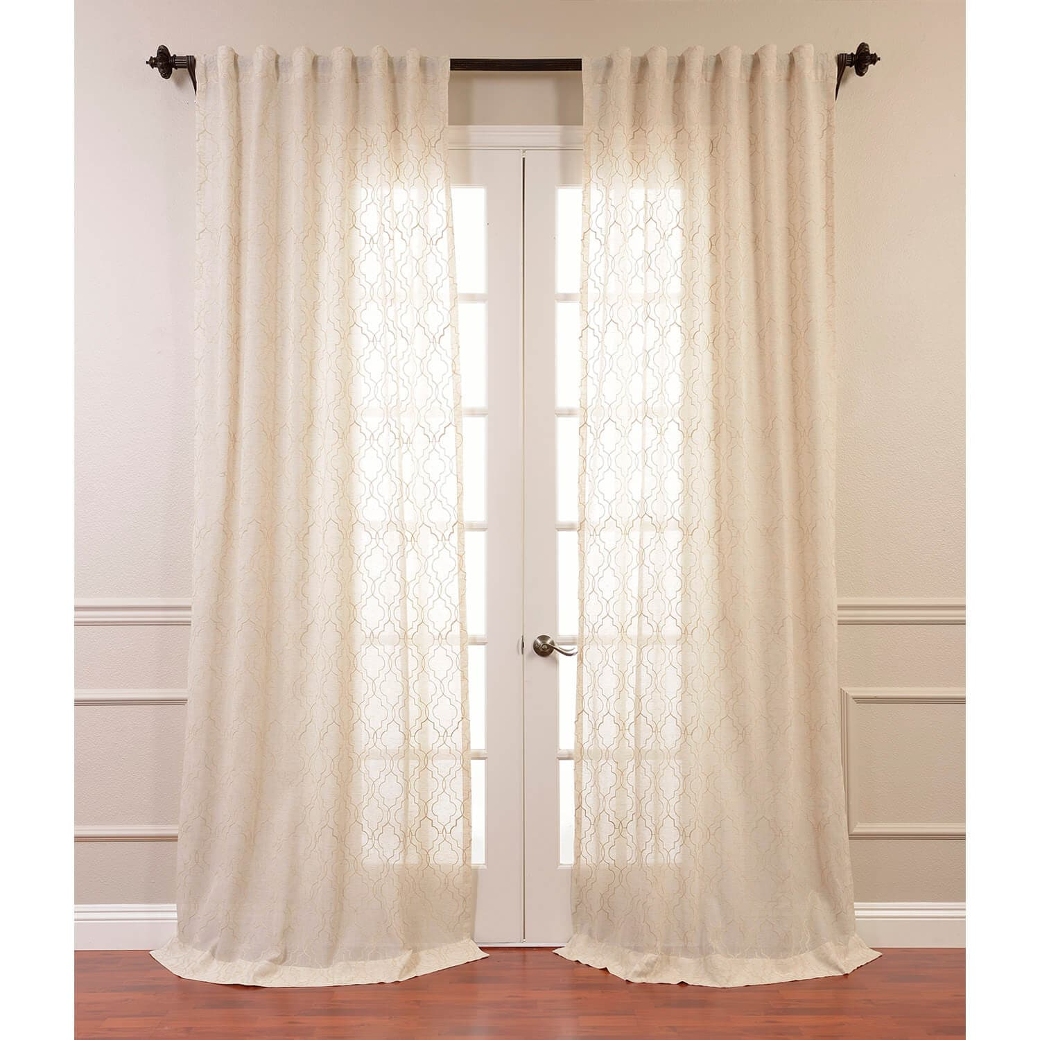 Saida Natural Embroidered Faux Linen Sheer Curtain