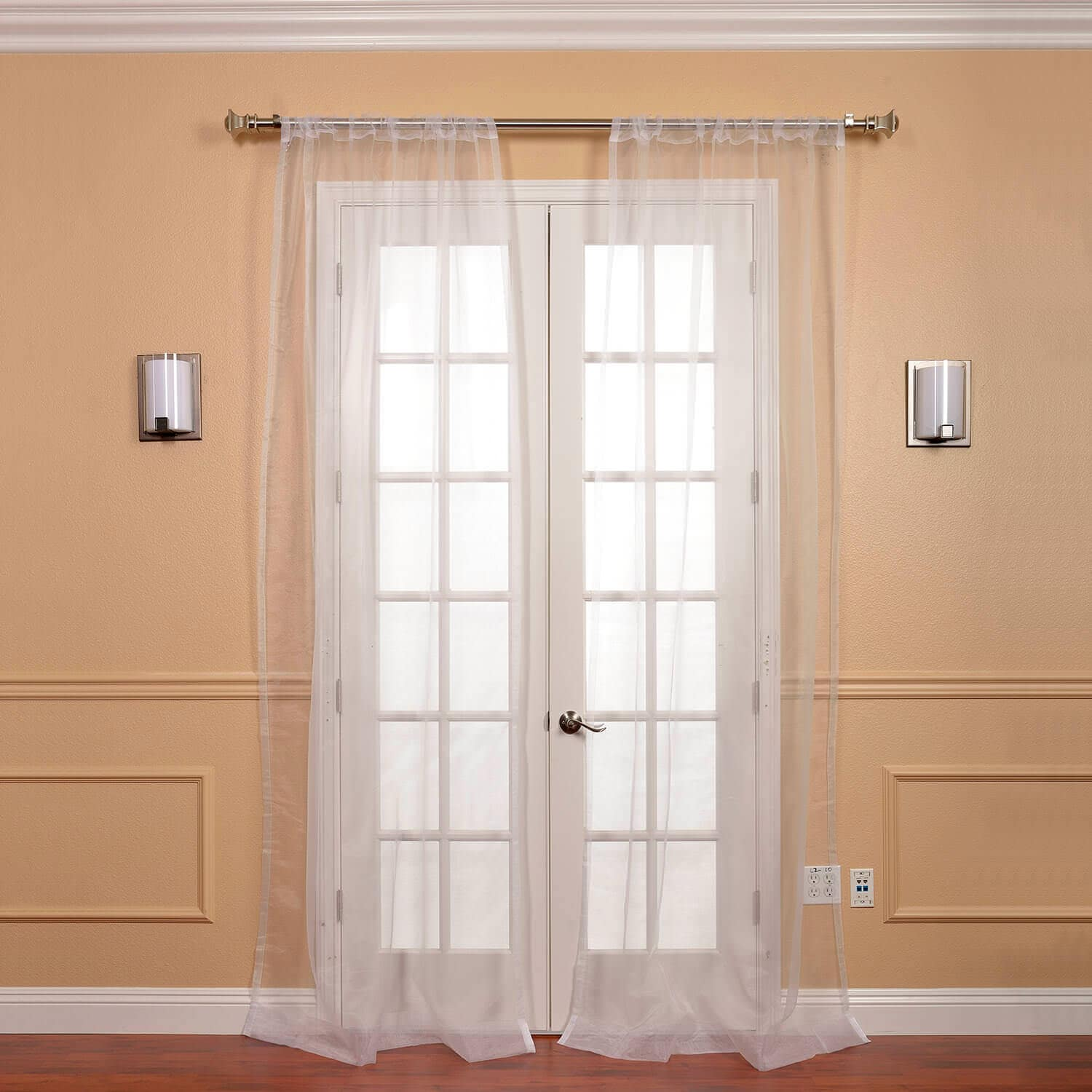 White Solid Faux Organza Sheer Curtain Pair (2 Panels)