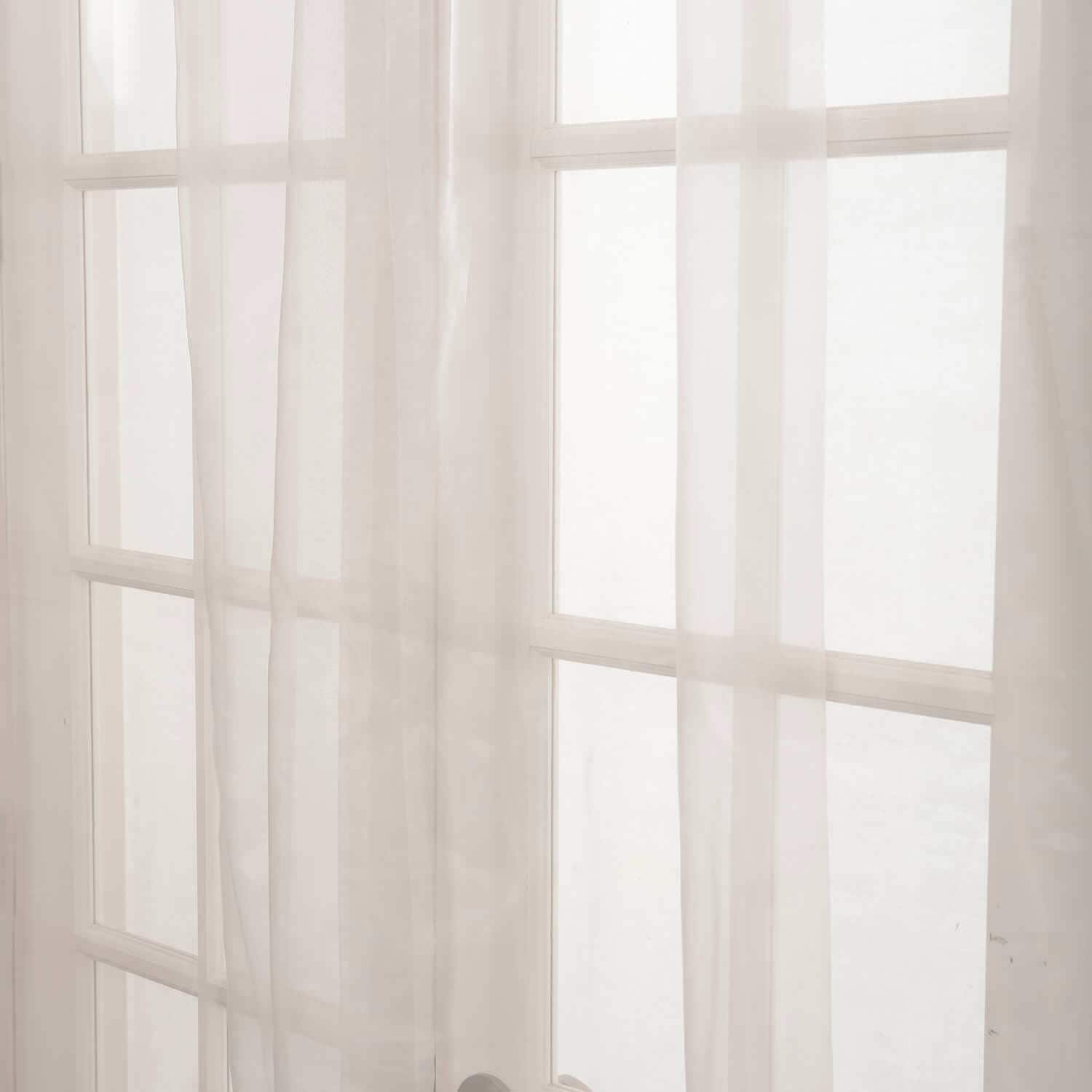 Off White Solid Faux Organza Sheer Curtain Pair (2 Panels)