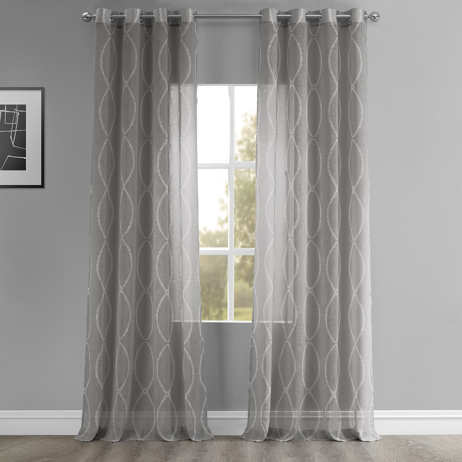 Grecian Grey Grommet Printed Sheer Curtain