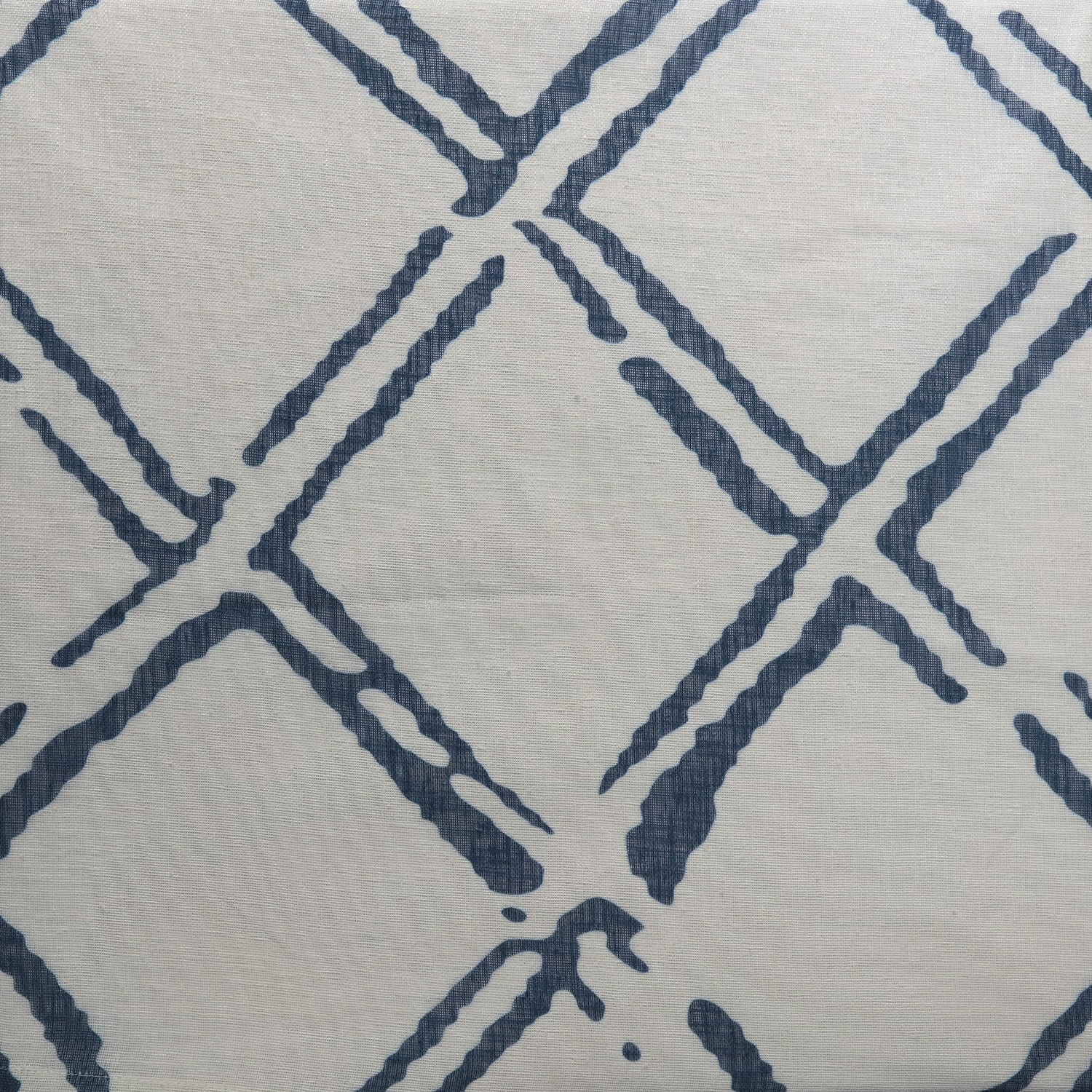 Normandy Blue Printed Faux Linen Sheer Fabric