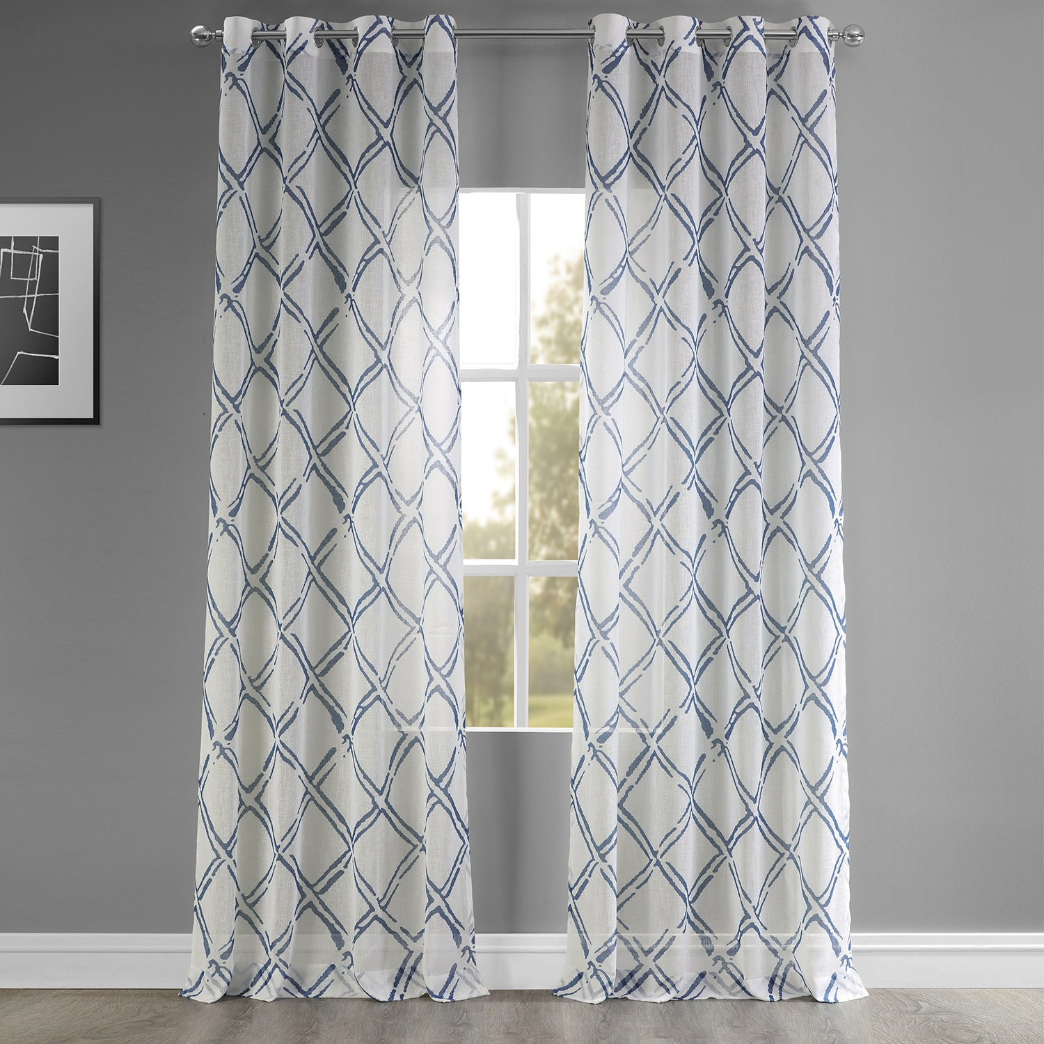 Normandy Blue Grommet Faux Linen Printed Sheer Curtain