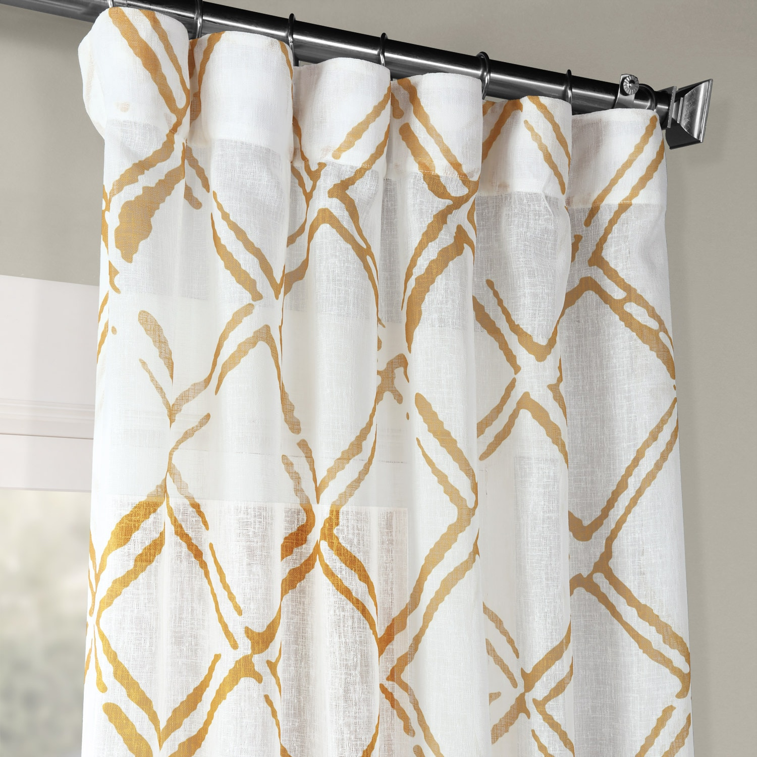 Normandy Gold Printed Faux Linen Sheer Curtain