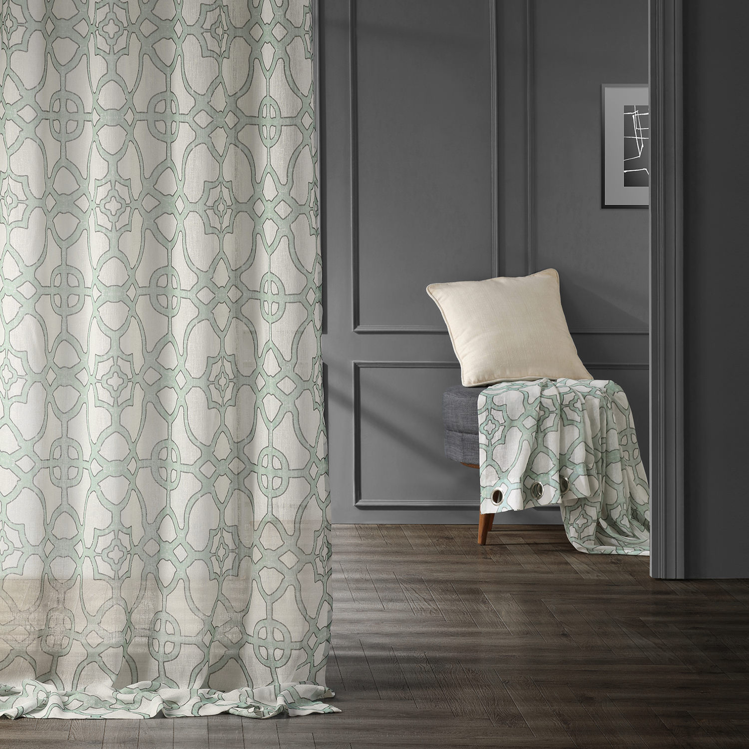 SeaGlass Blue Grommet Printed Faux Linen Sheer Curtain
