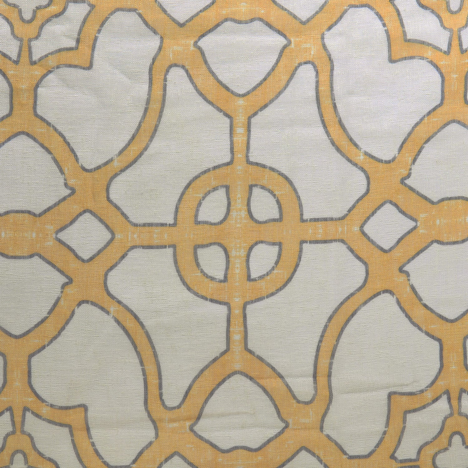 SeaGlass Yellow Printed Faux Linen Sheer Fabric