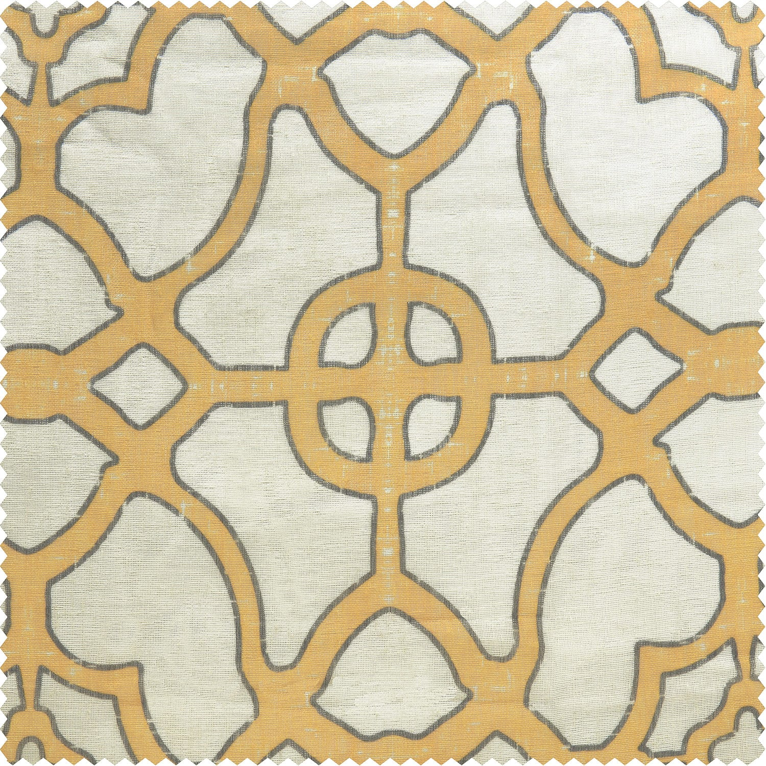 SeaGlass Yellow Printed Faux Linen Sheer Swatch