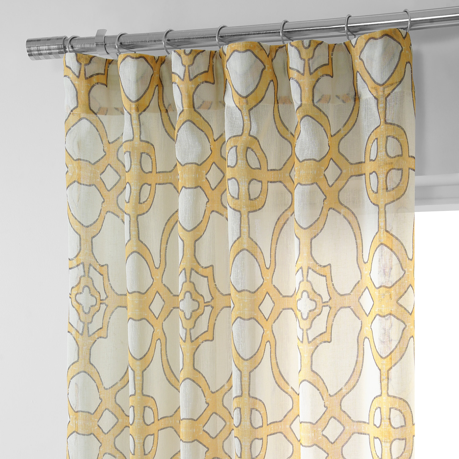 SeaGlass Yellow Printed Faux Linen Sheer Curtain