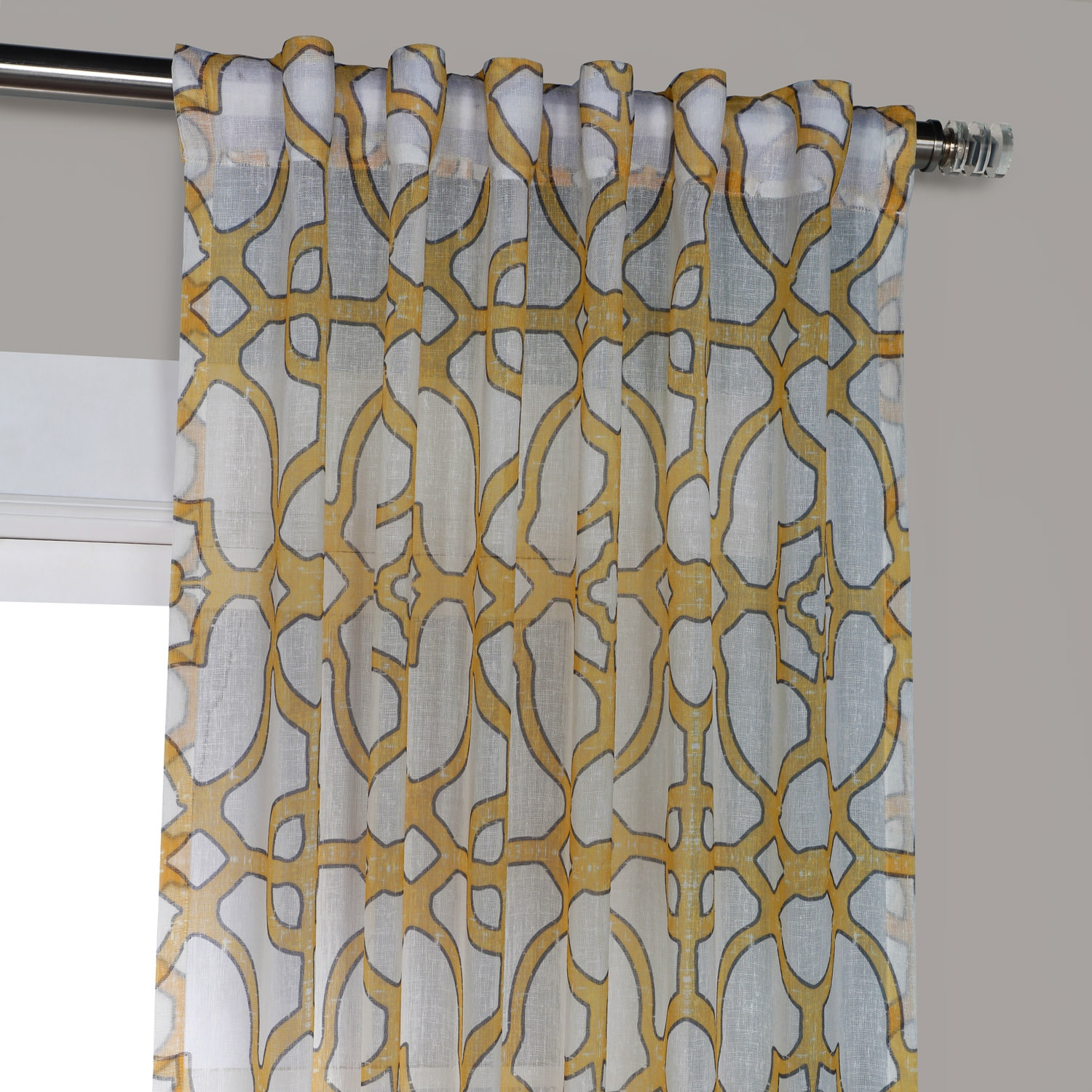SeaGlass Yellow Printed Sheer Curtain