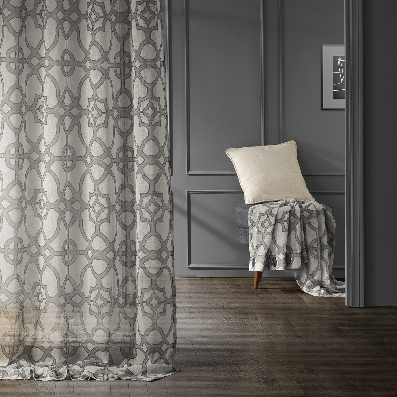 SeaGlass Grey Grommet Printed Faux Linen Sheer Curtain