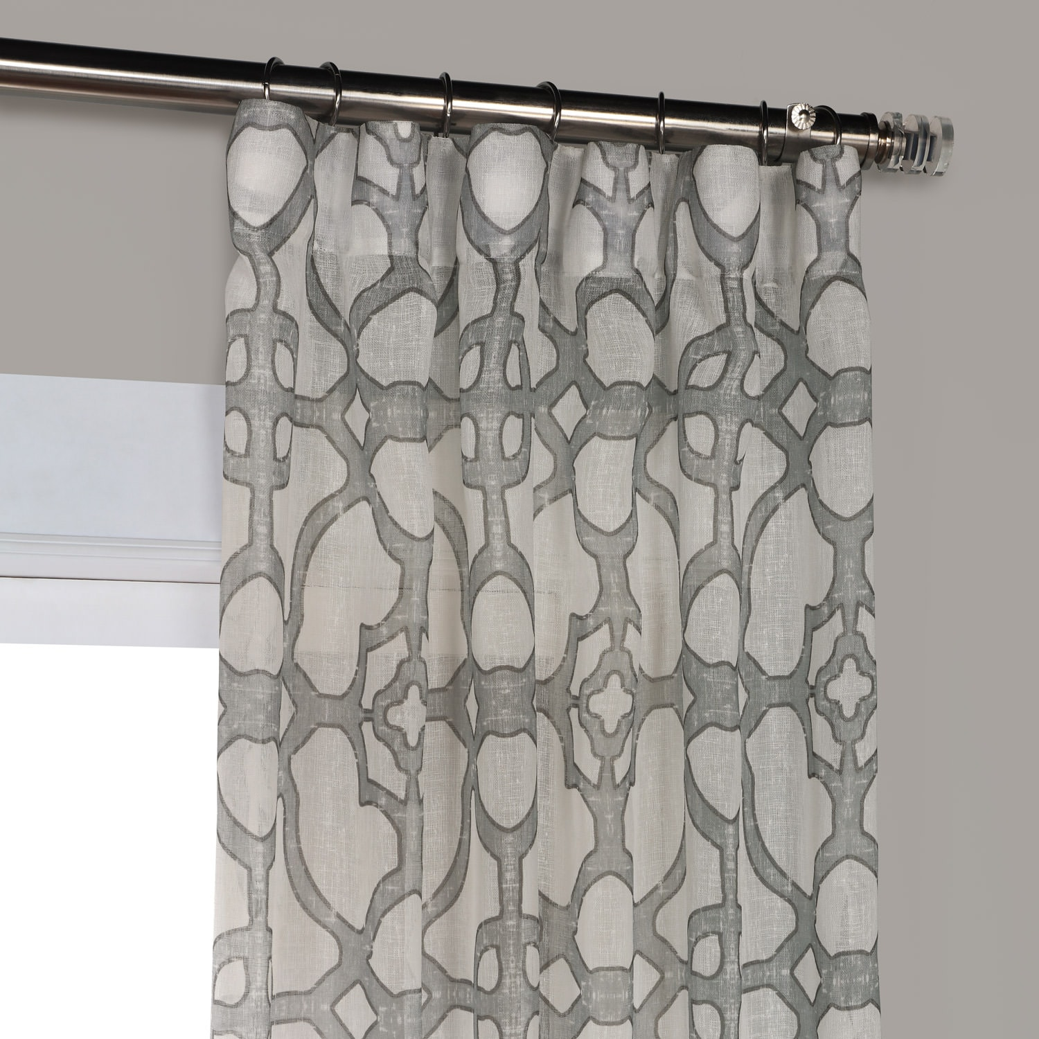 SeaGlass Grey Printed Faux Linen Sheer Curtain
