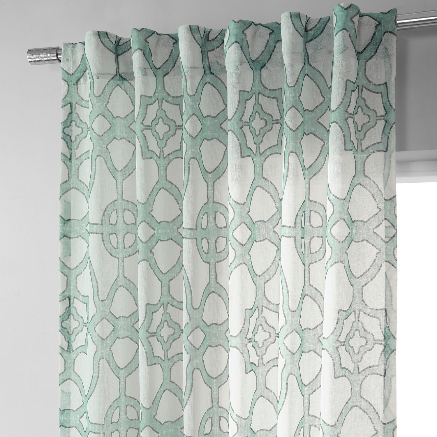 SeaGlass Blue Printed Faux Linen Sheer Curtain