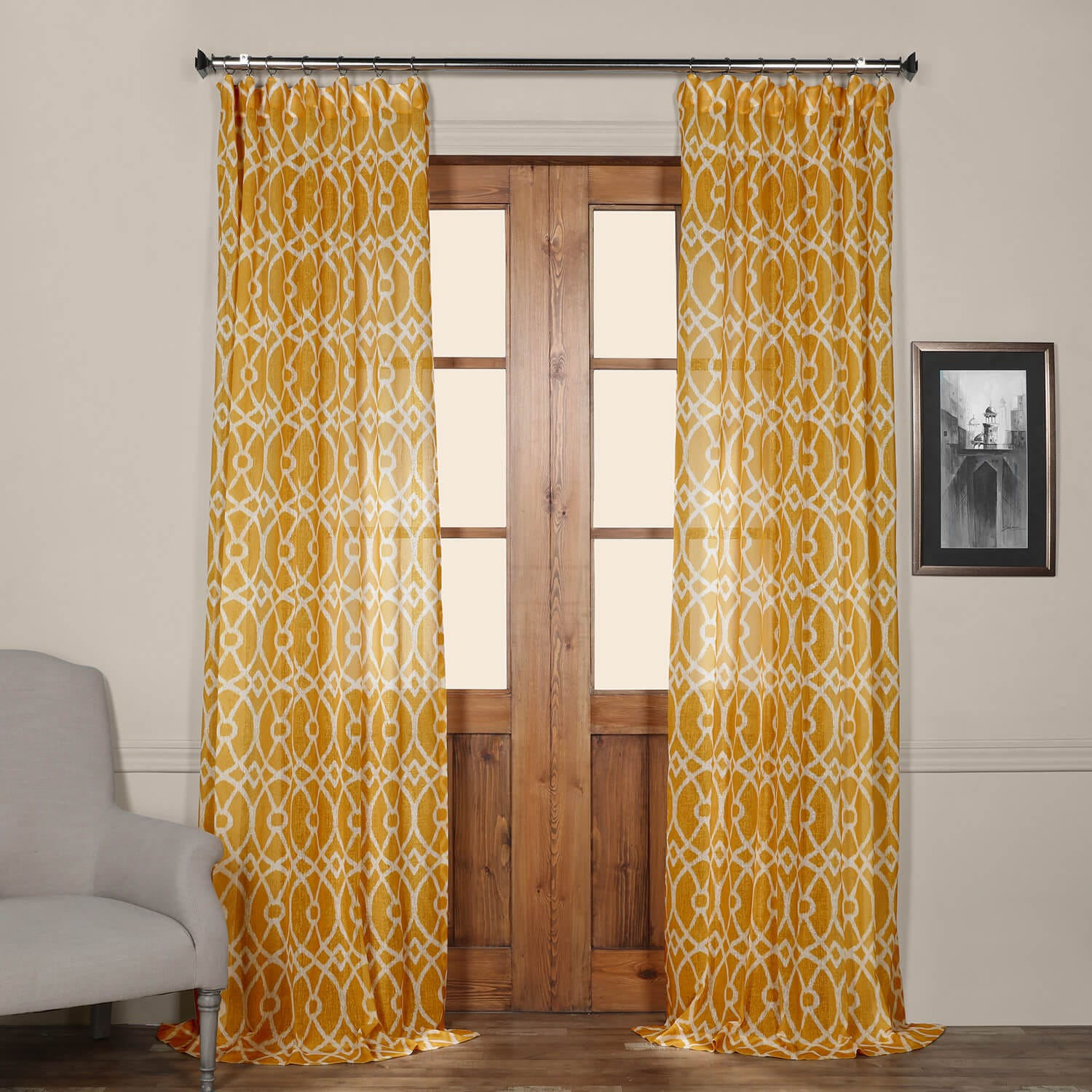 Tava Yellow Printed Faux Linen Sheer Curtain