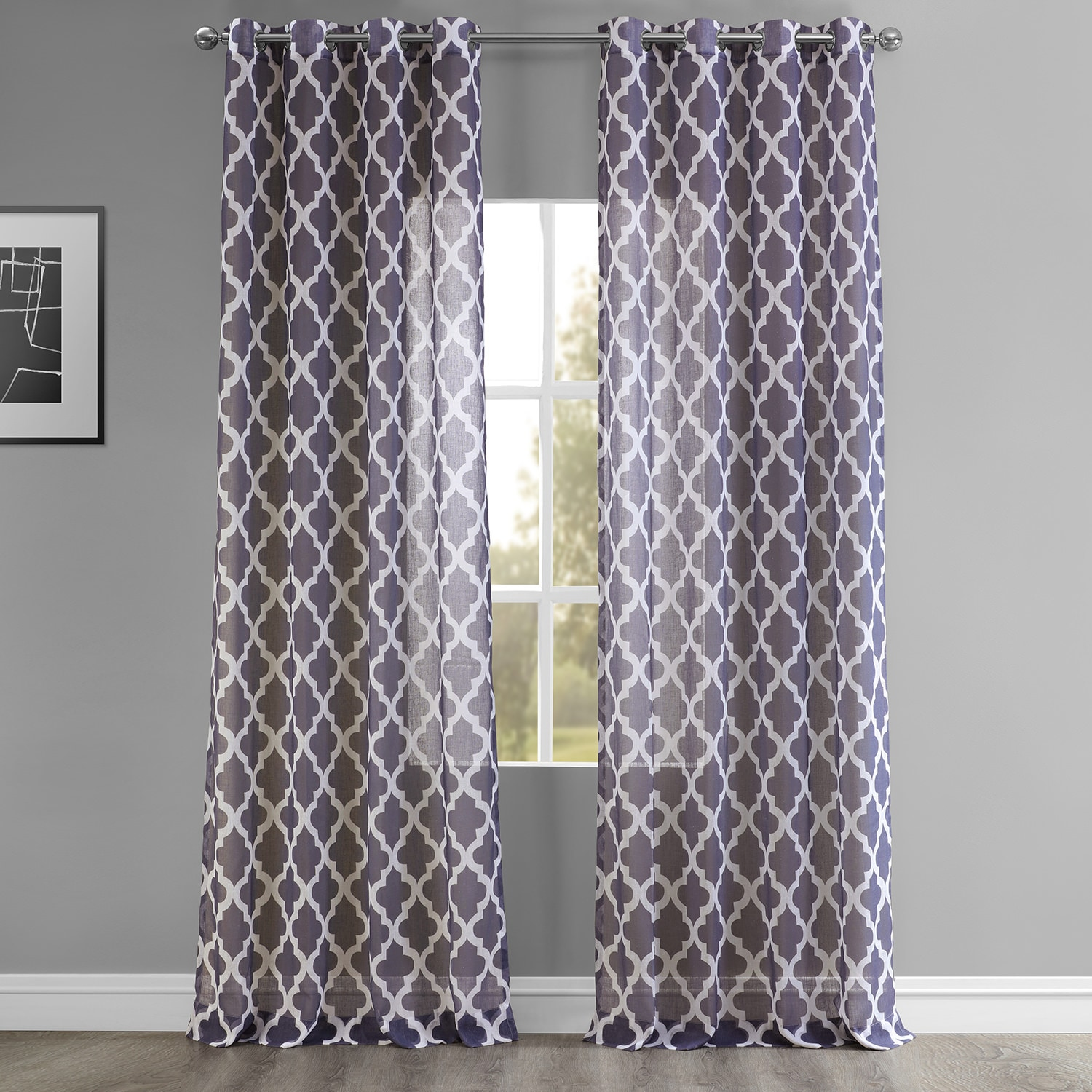 Birmingham Mulberry Grommet Printed Faux Linen Sheer Curtain