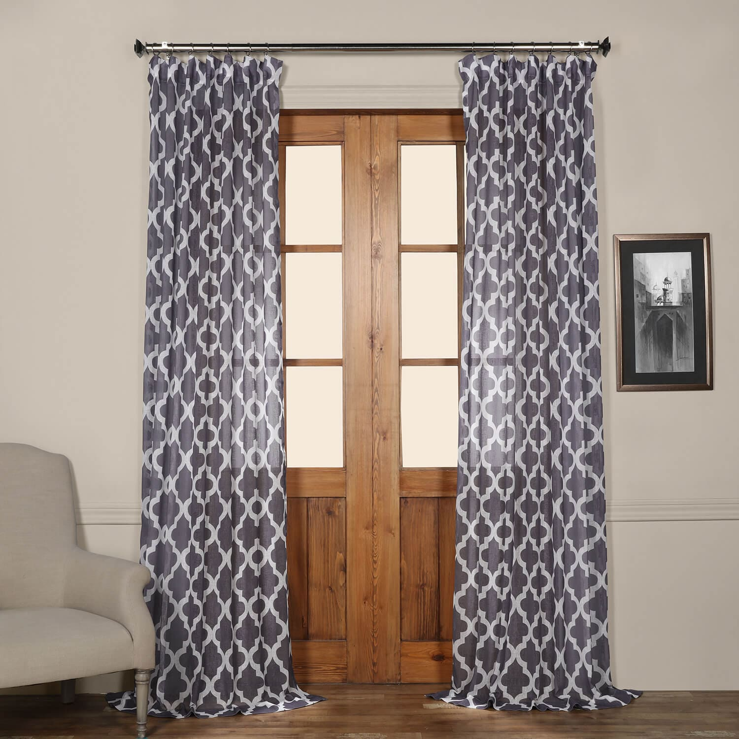 Birmingham Mulberry Printed Faux Linen Sheer Curtain