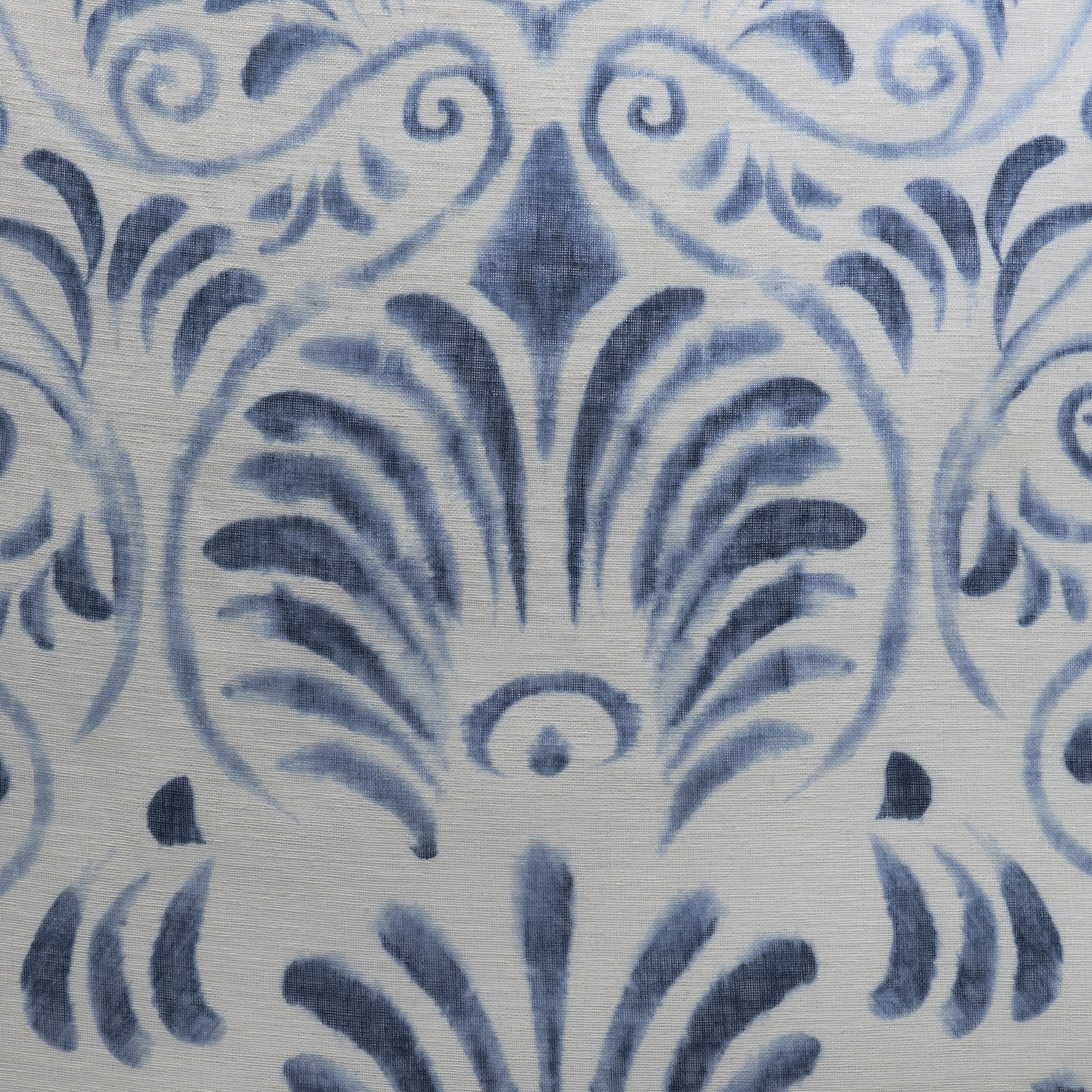 Xenia Blue Printed Faux Linen Sheer Fabric