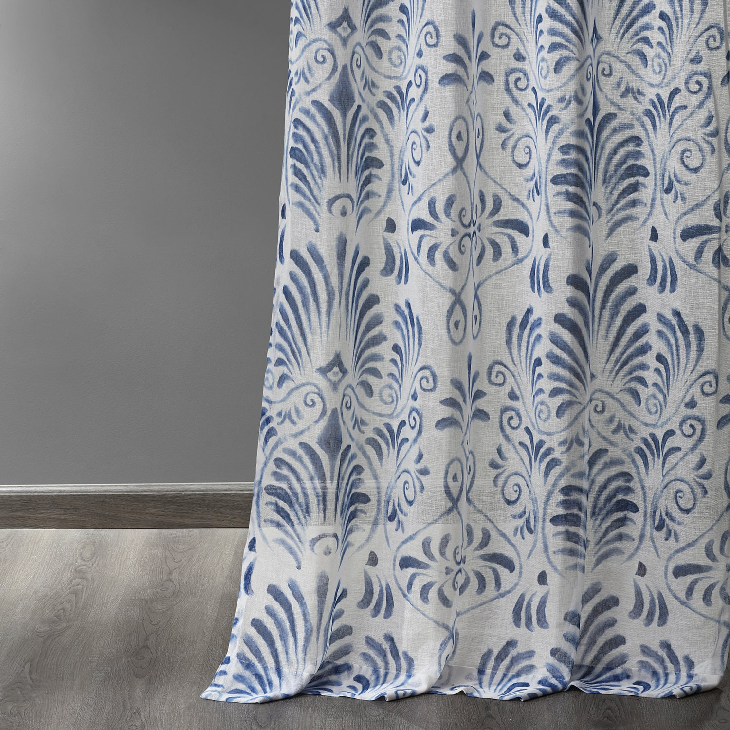 Xenia Blue Grommet Printed Faux Linen Sheer Curtain