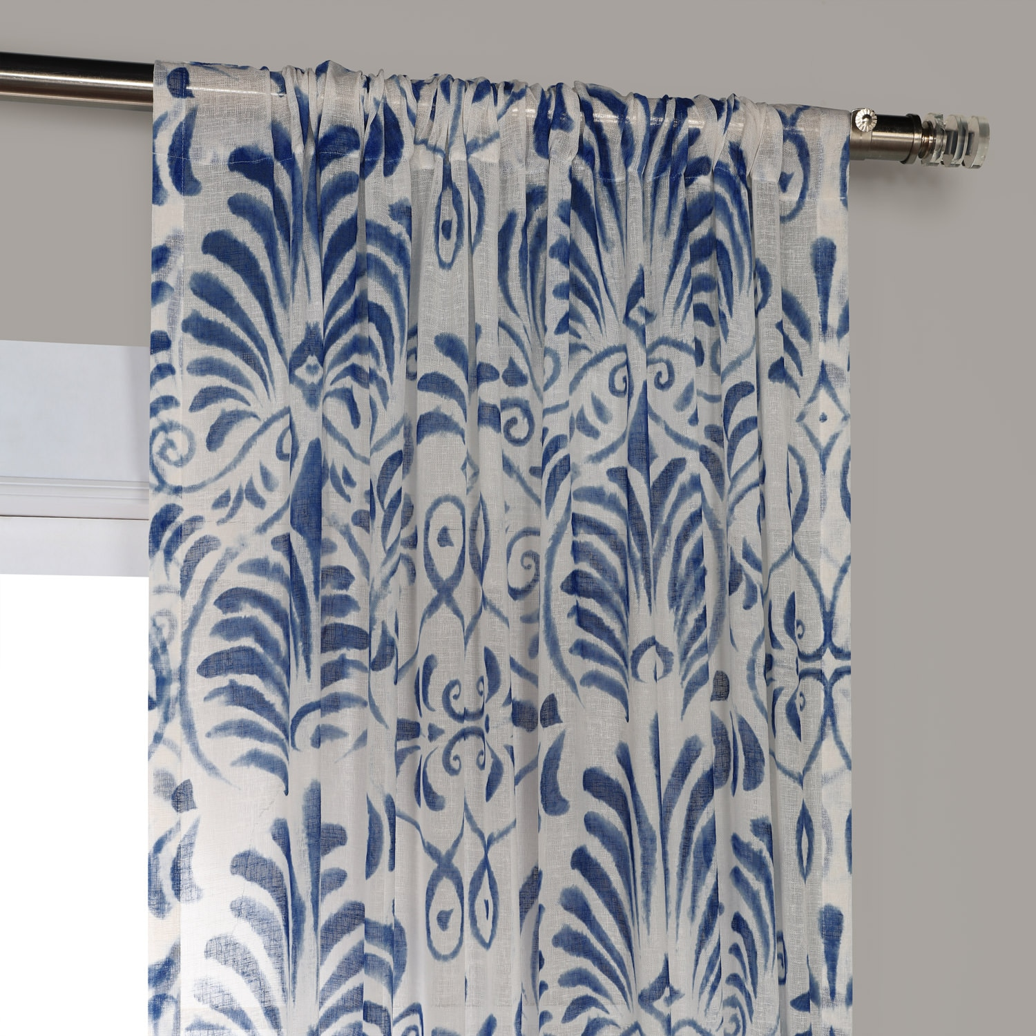 Xenia Blue Printed Faux Linen Sheer Curtain