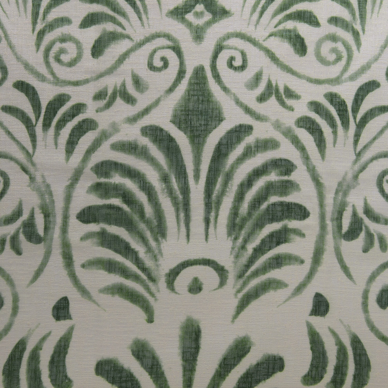 Xenia Green Printed Faux Linen Sheer Swatch