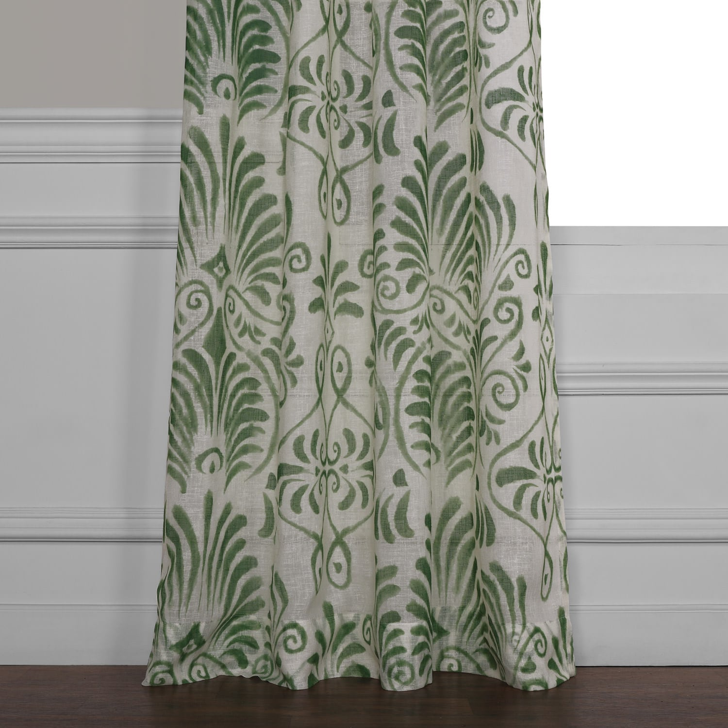 Xenia Green Printed Faux Linen Sheer Curtain