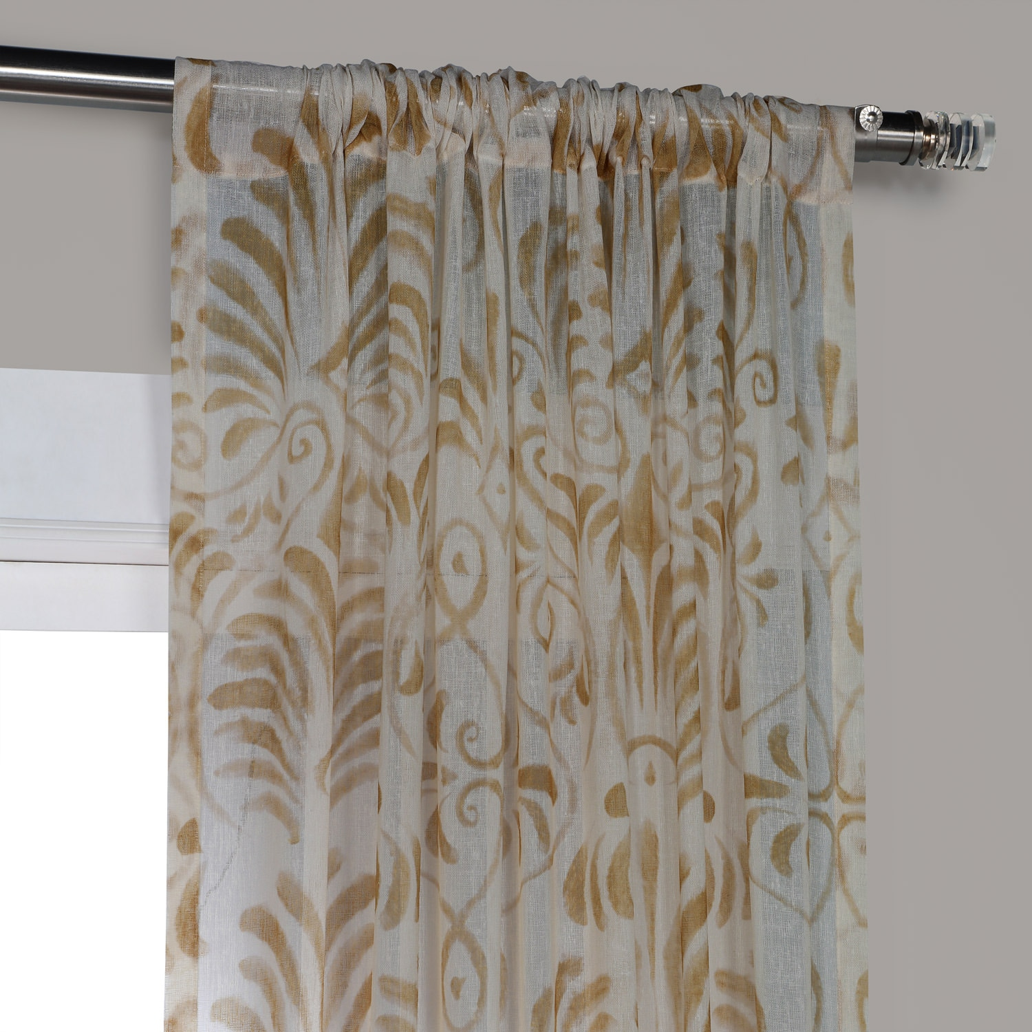 Xenia Tan Printed Faux Linen Sheer Curtain