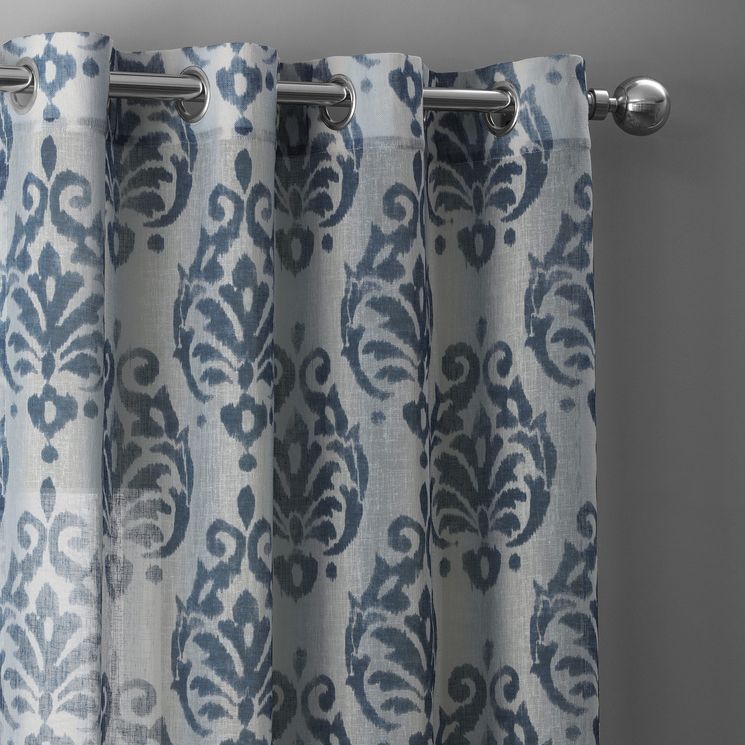 Fresco Blue Grommet Printed Faux Linen Sheer Curtain