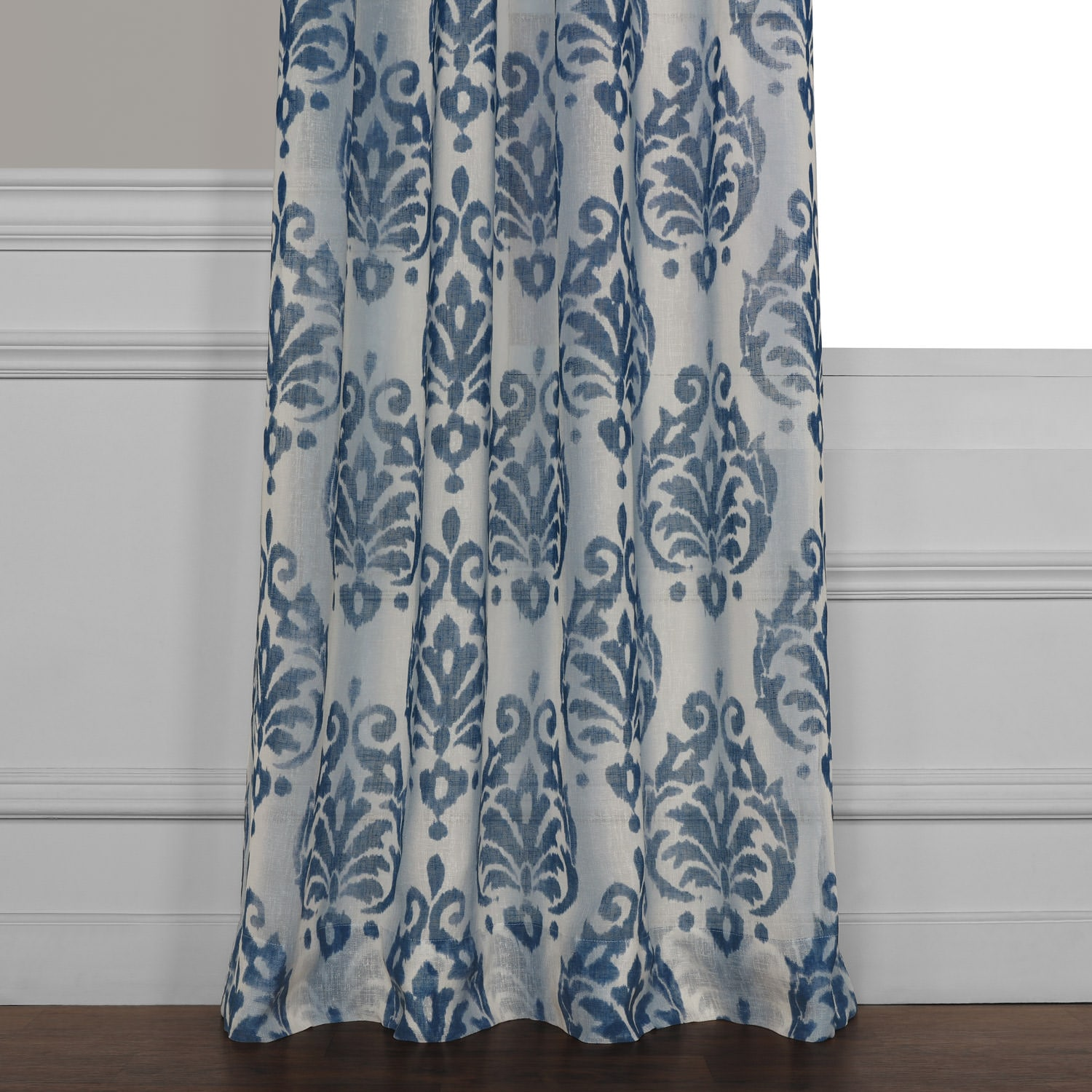 Fresco Blue Printed Faux Linen Sheer Curtain
