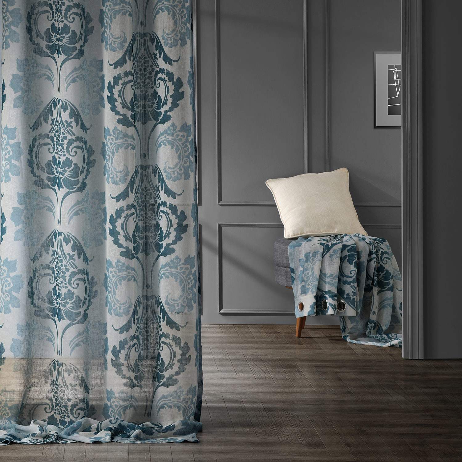 Damascus Teal Grommet Faux Linen Printed Sheer Curtain