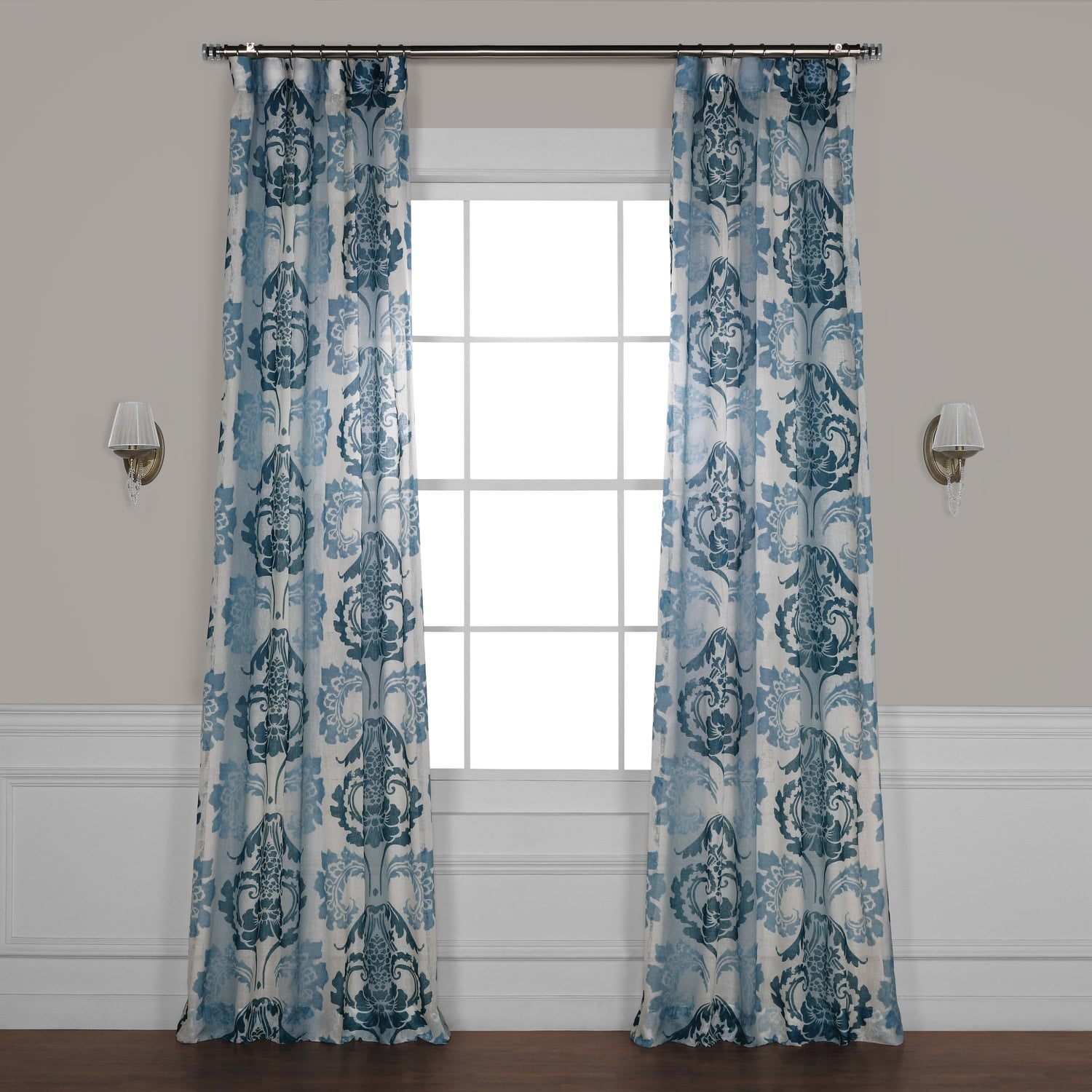 Damascus Teal Printed Faux Linen Sheer Curtain
