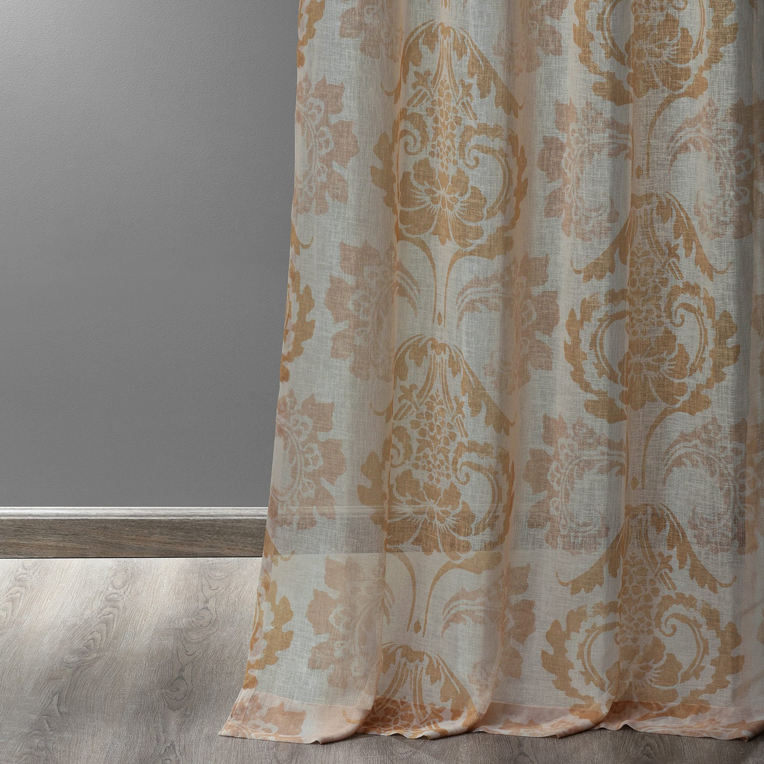 Damascus Tan Grommet Printed Faux Linen Sheer Curtain